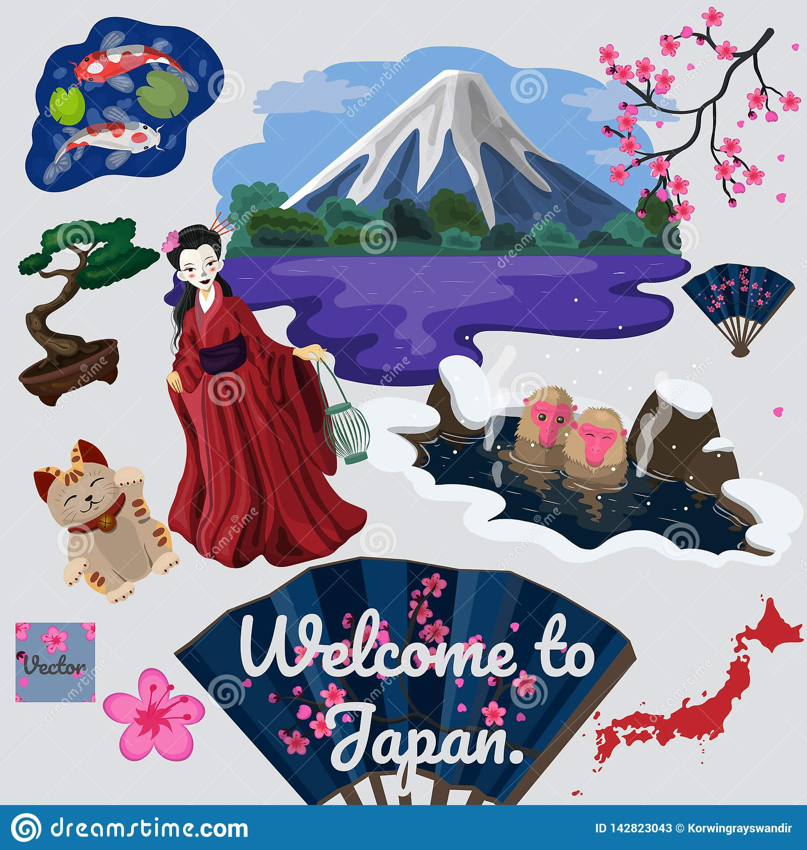 Collection of traveled traditional japanese elements vector image