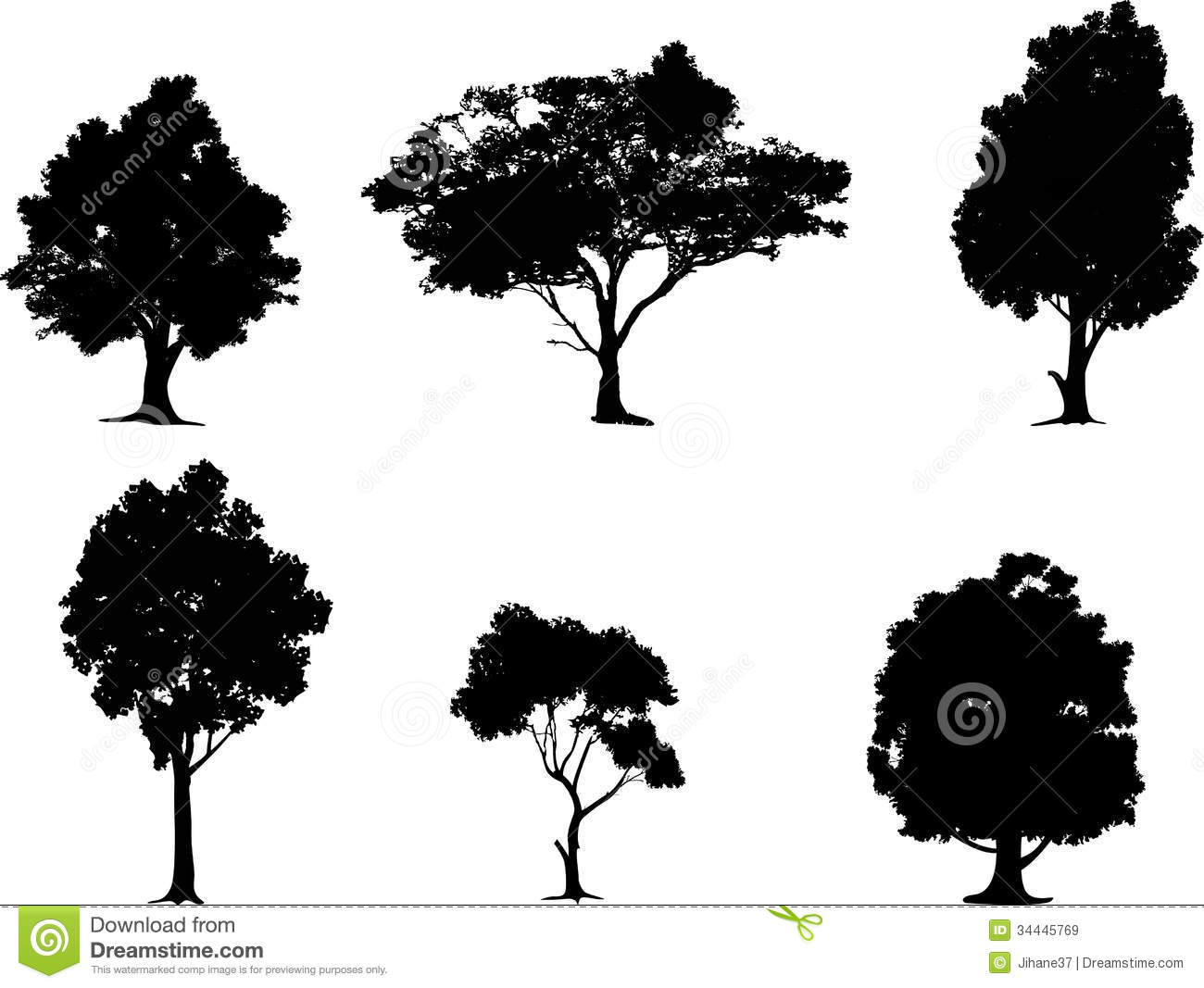 Collection Of Tree Silhouette Royalty Free Stock Images