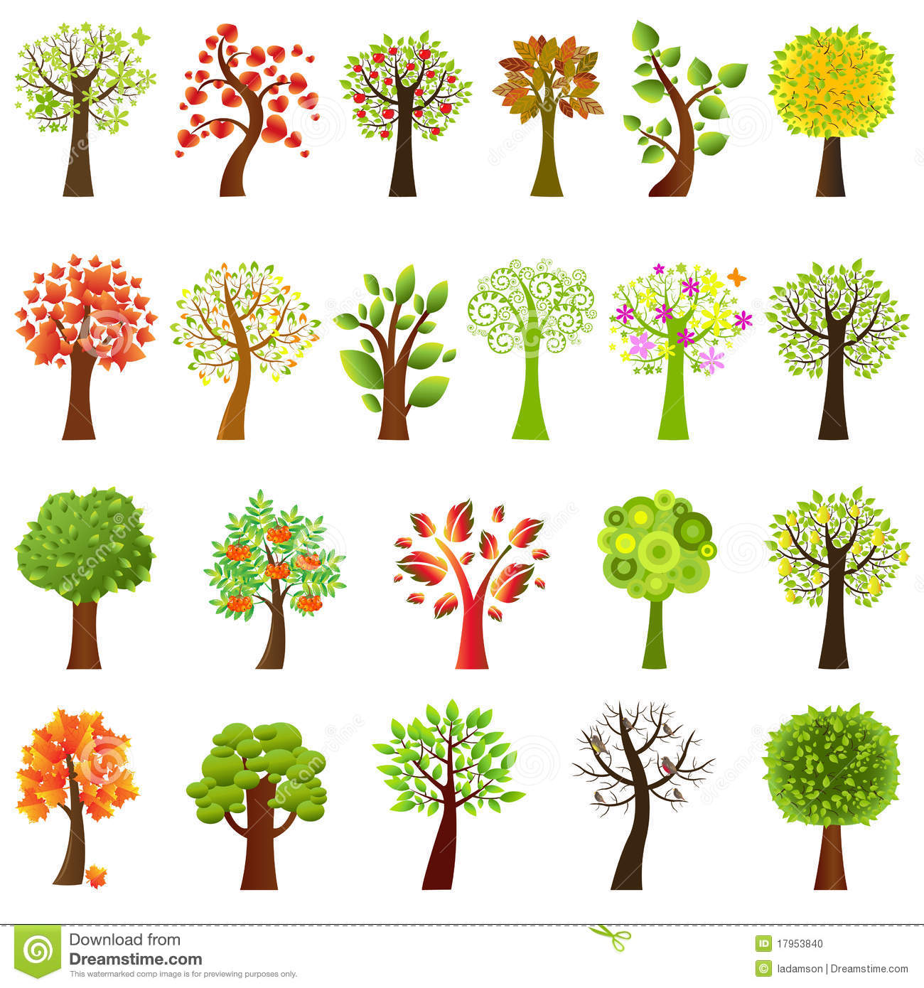 Collection Of Trees. Vector