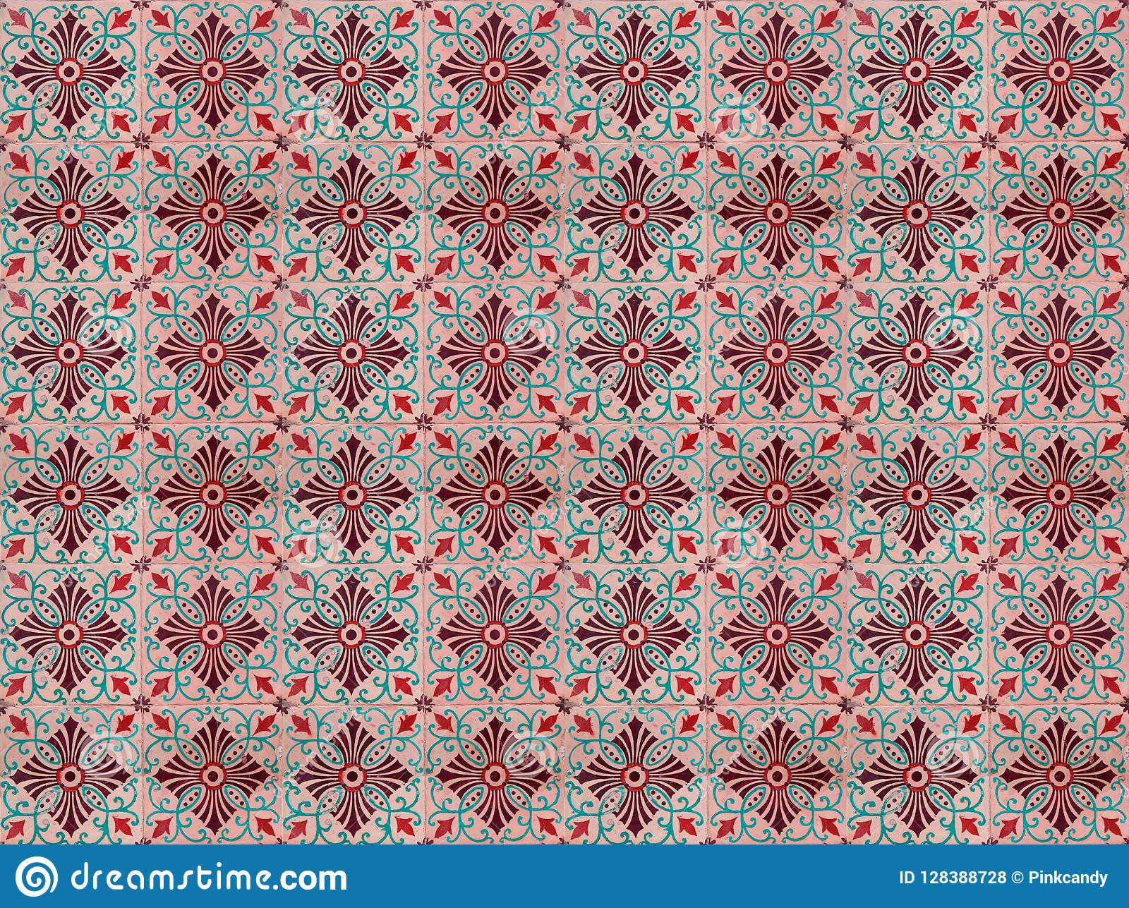 Collection Of Turquoise And Orange Patterns Tiles Stock Illustration