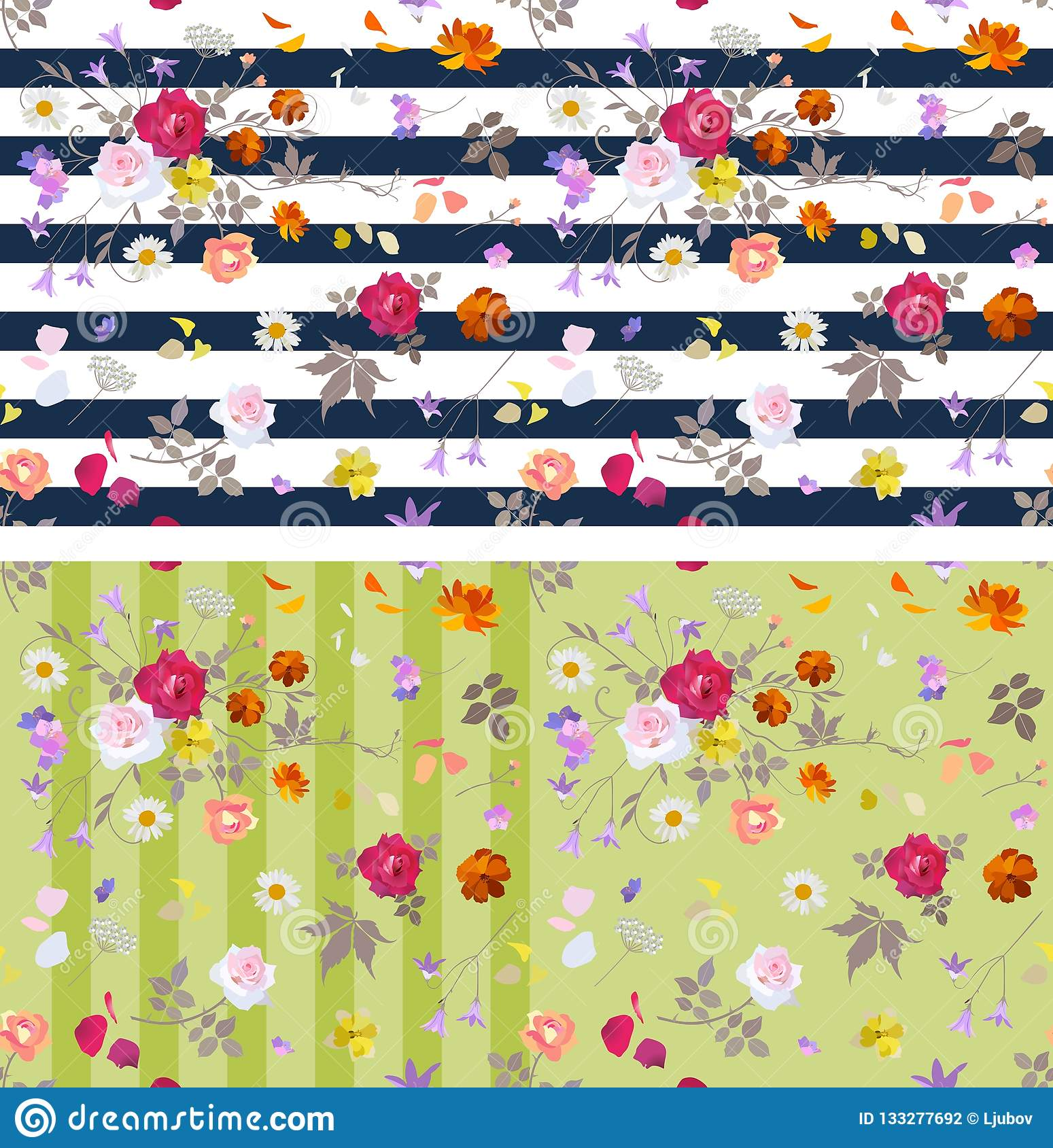 Collection of two seamless striped ditsy floral patterns. Vector summer design.