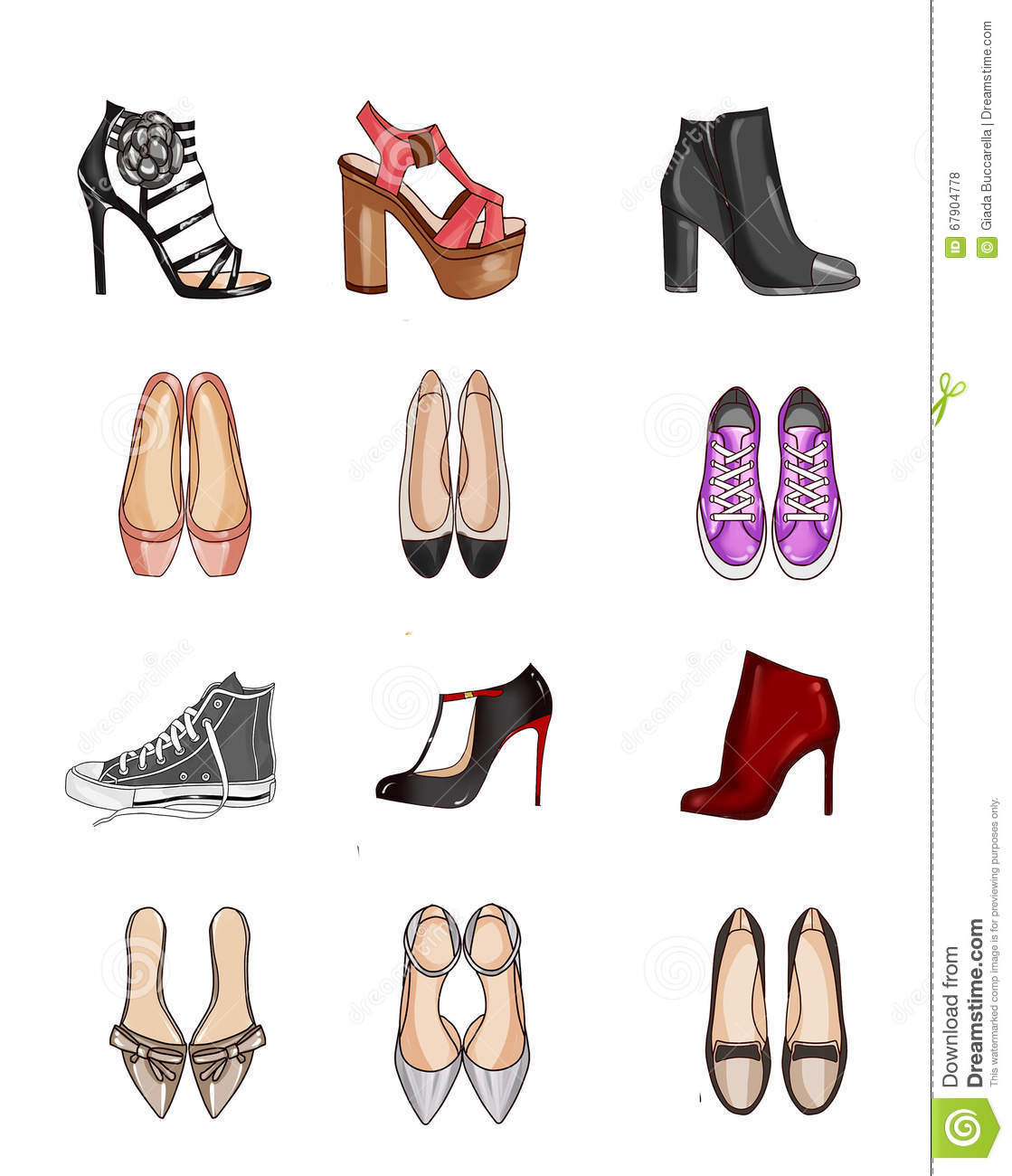 Collection of types of shoes