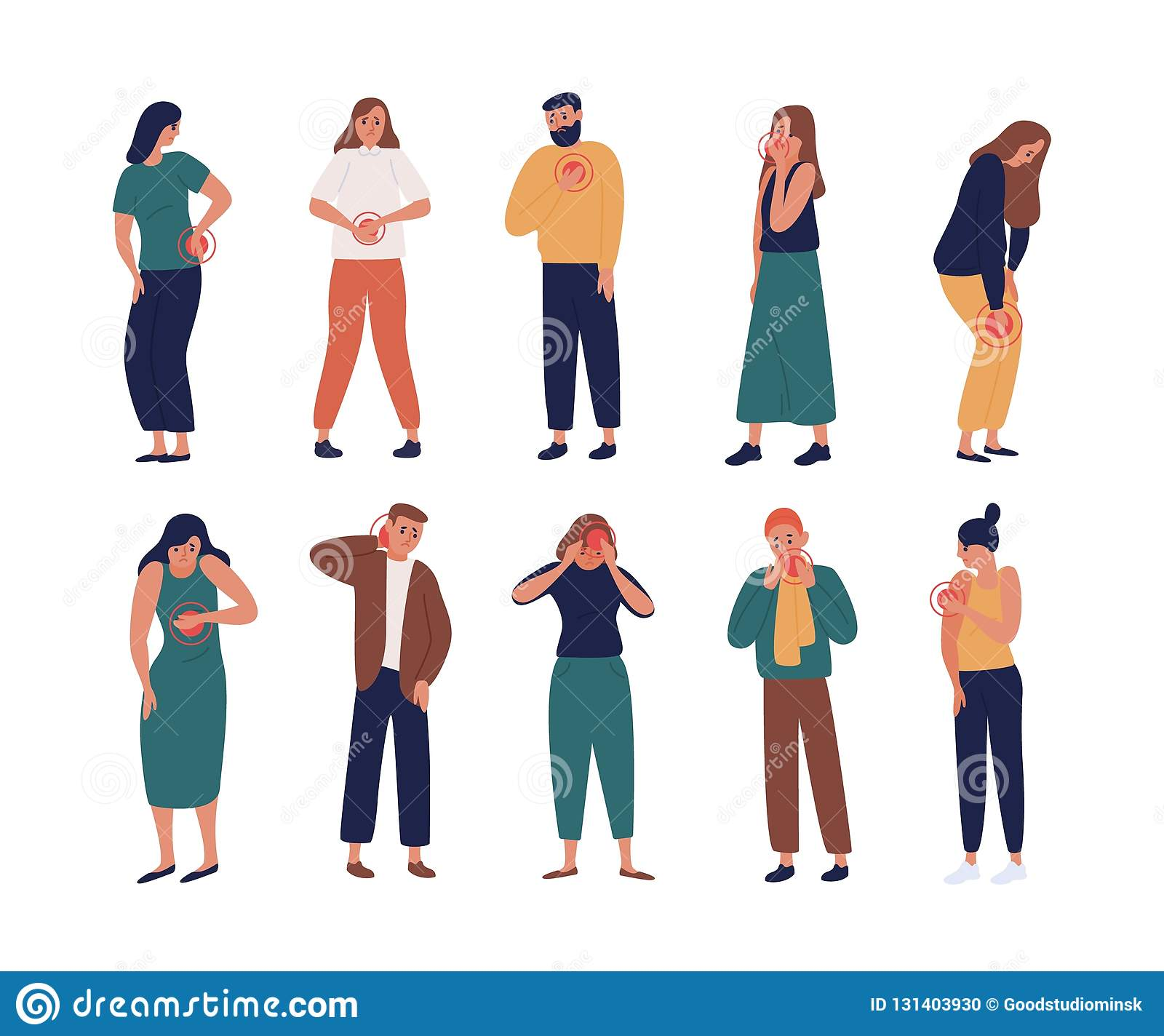 Collection of unhappy people suffering pain or ache in different body parts - chest, neck, leg, back, arm. Set of ill