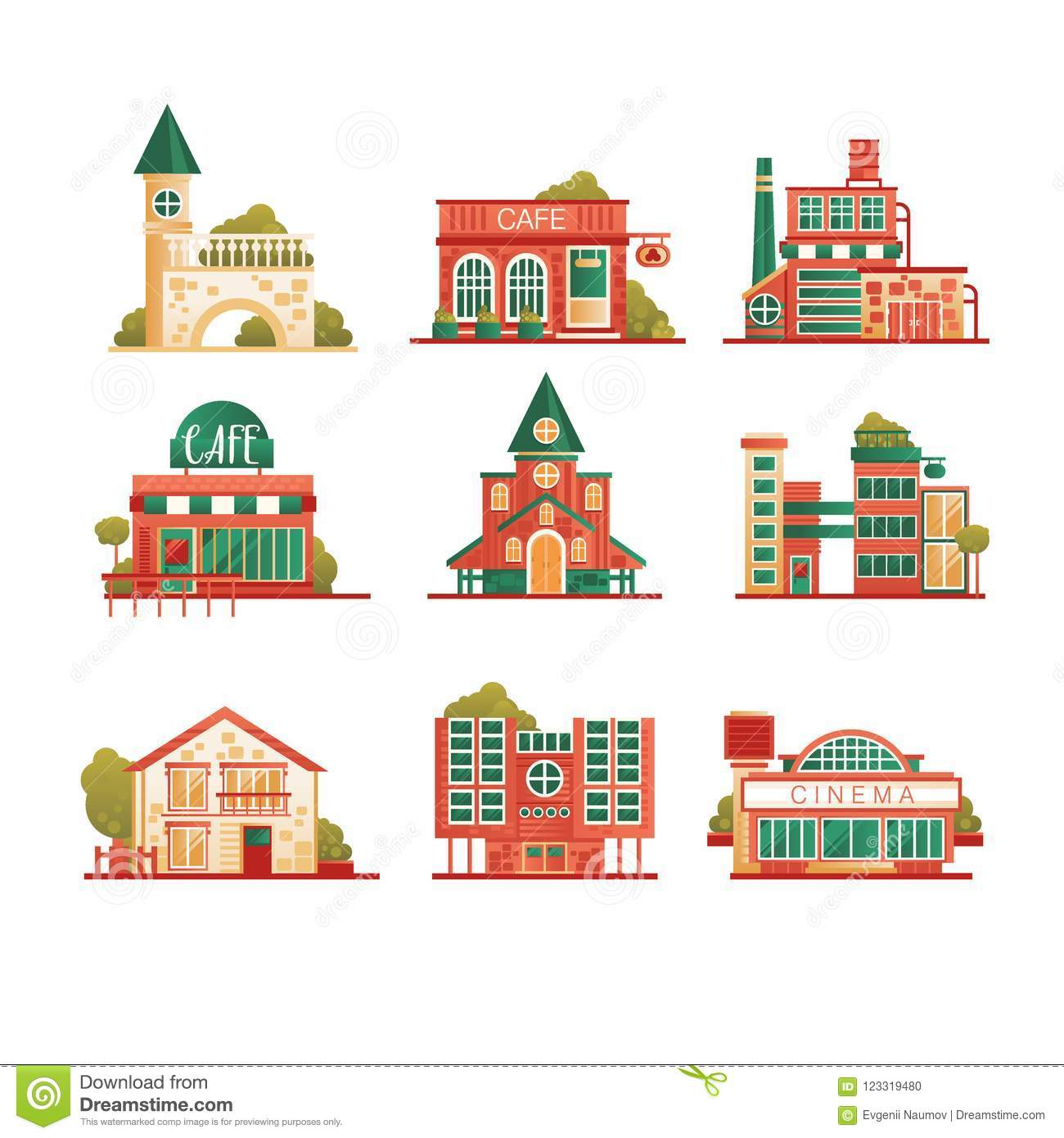 Collection of urban and suburban huses set, private houses and municipal public buildings vector Illustrations on a
