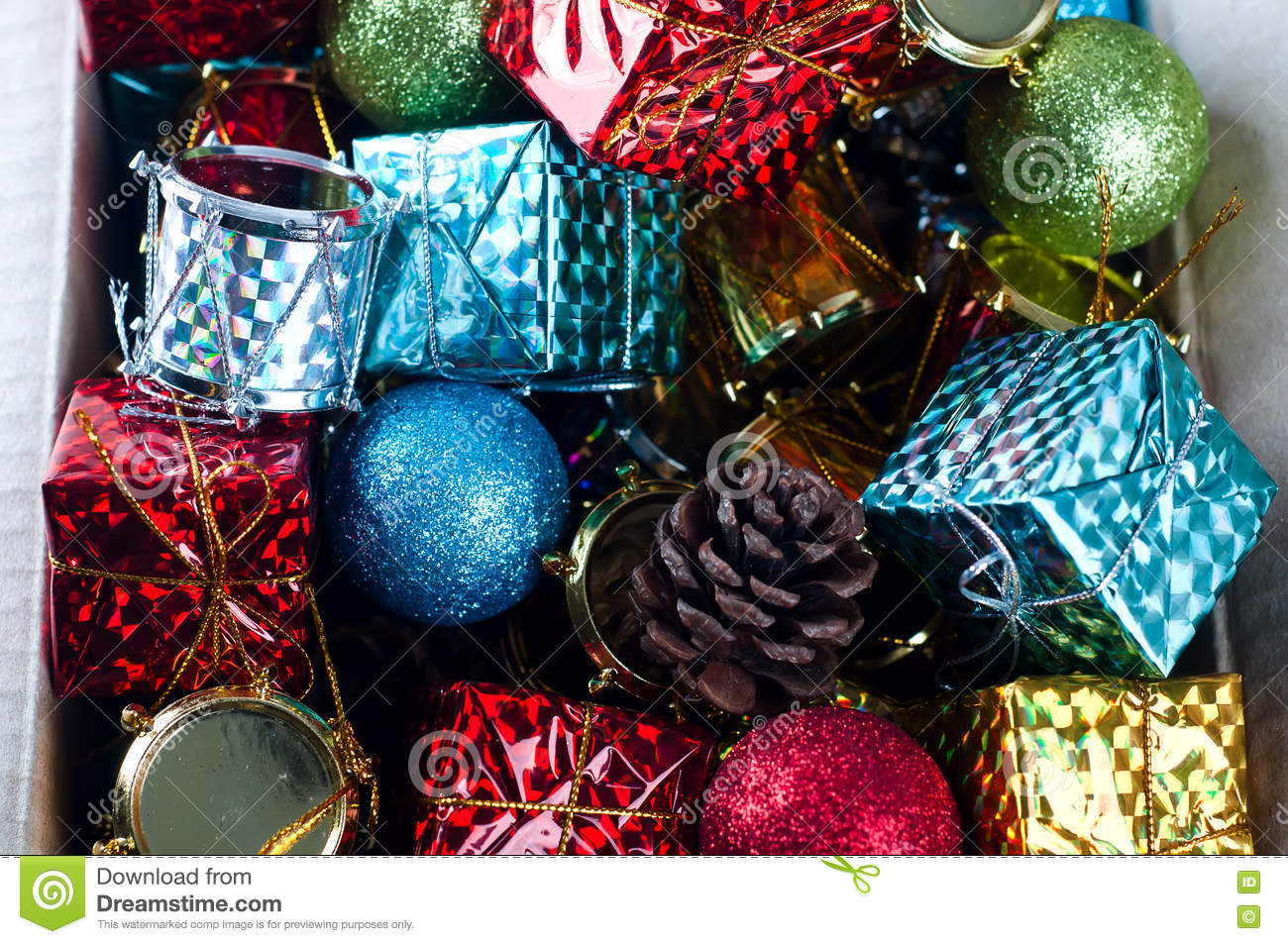 collection of various christmas decorations placed into cardboard box - Cardboard Box Christmas Decorations