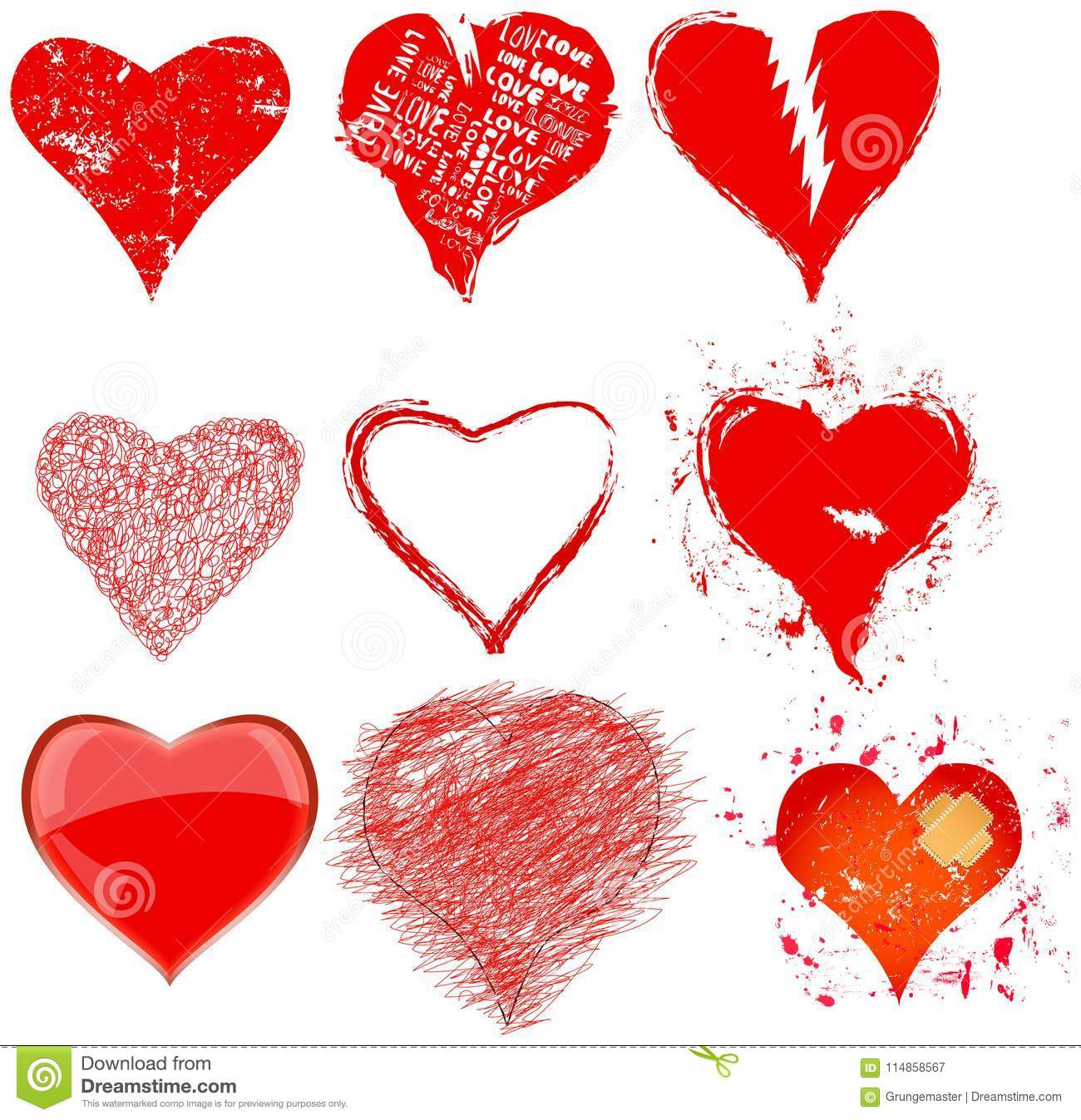 Collection Of Various Grungy Hearts And Love Symbolsvector Stock
