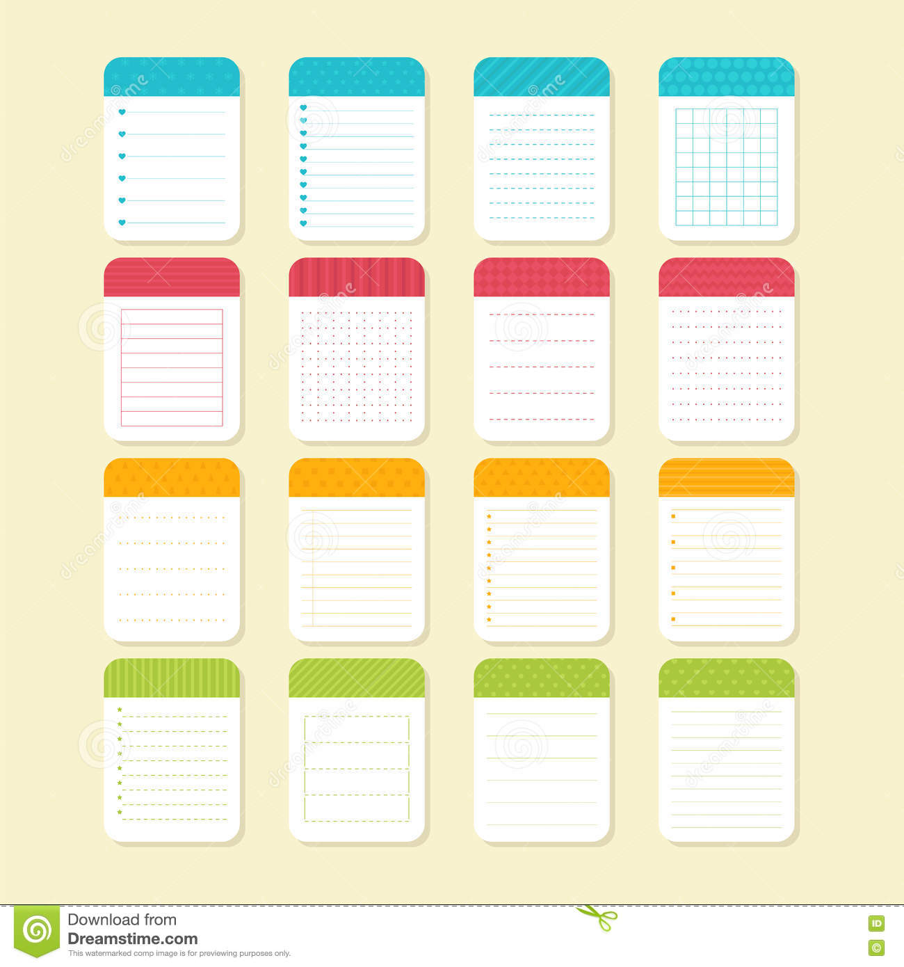 Collection Of Various Note Papers Template Notepad Design Stock