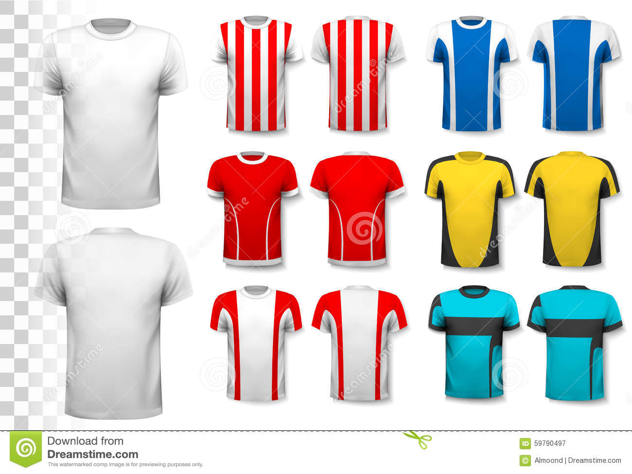 Collection of various soccer jerseys stock vector image for Website where you can design your own shirt