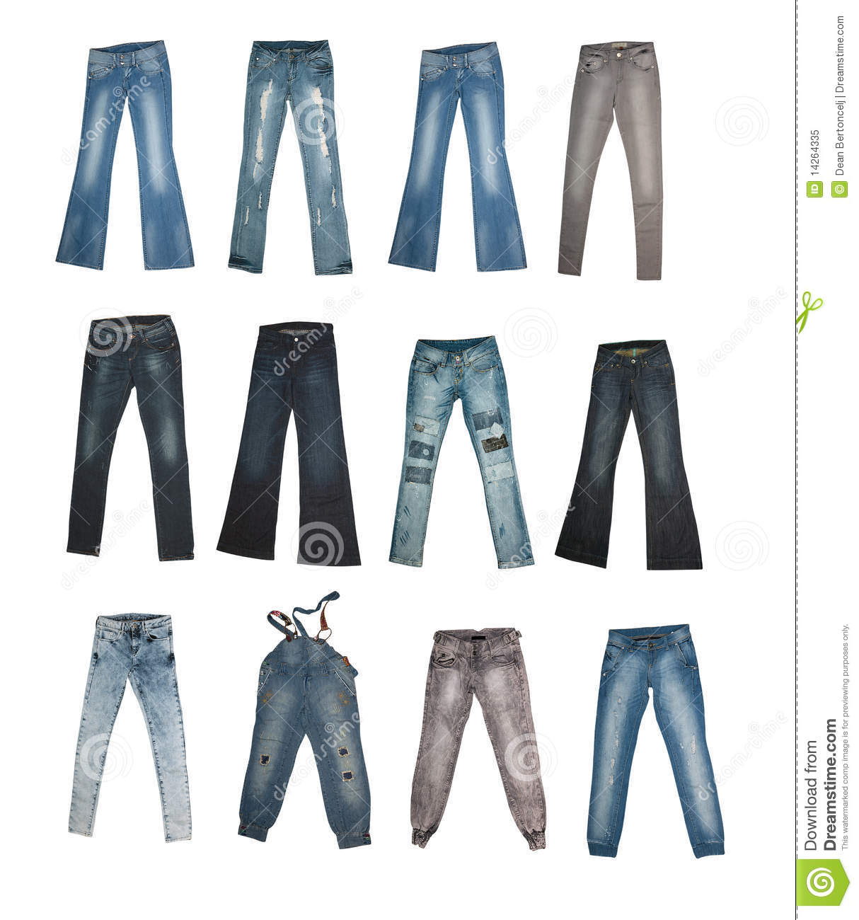 Collection of various types of jeans isolated on white background with ...