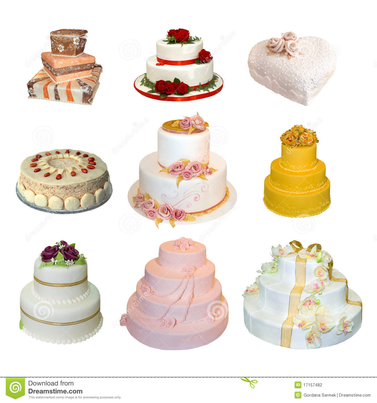 collection of various types of wedding cakes stock photography image 17157482. Black Bedroom Furniture Sets. Home Design Ideas