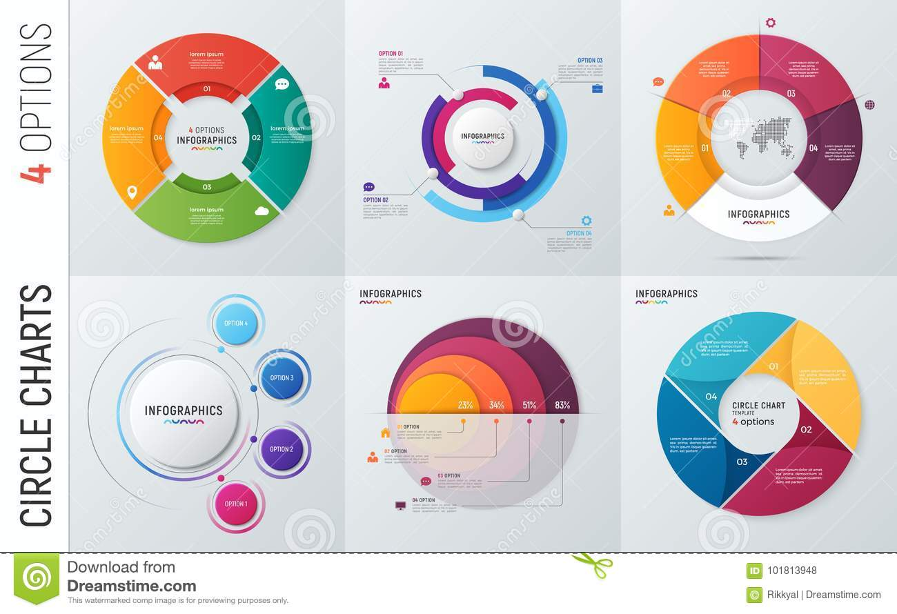 Collection of vector circle chart infographic templates for pres