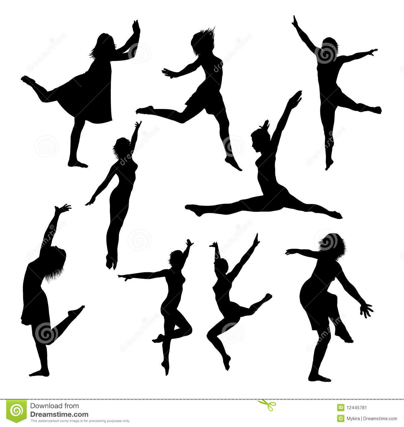 Collection of vector dance silhouettes