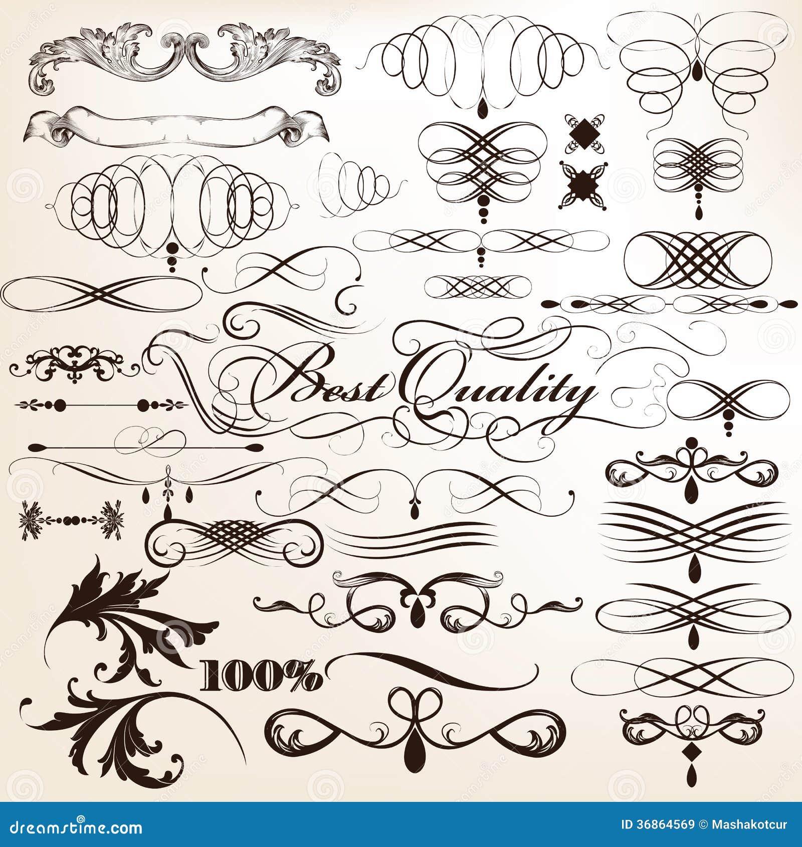 250  Free Vintage Graphics: Flourish Vector Ornaments