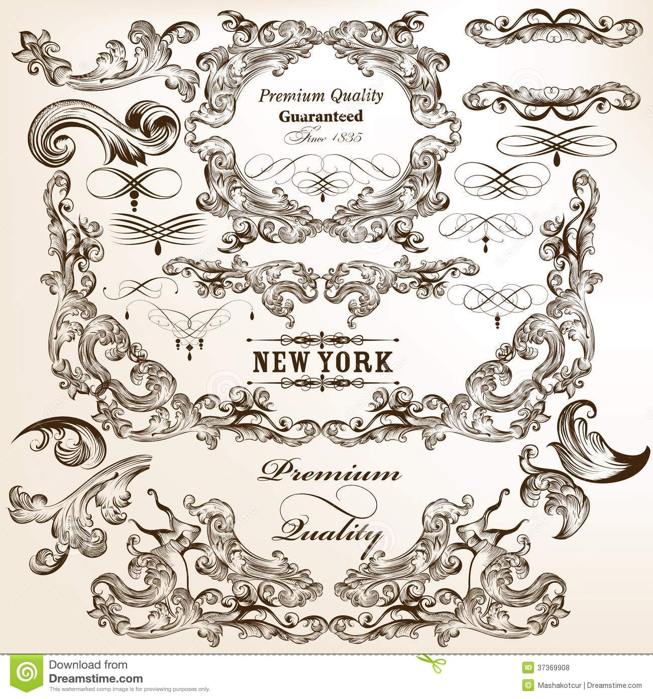 collection of vector decorative flourishes in vintage style stock vector