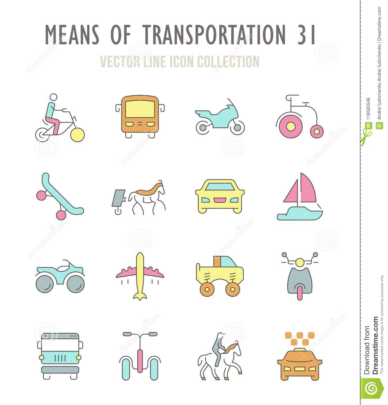Set Of Retro Icons Of Means Of Transportation Stock Illustration