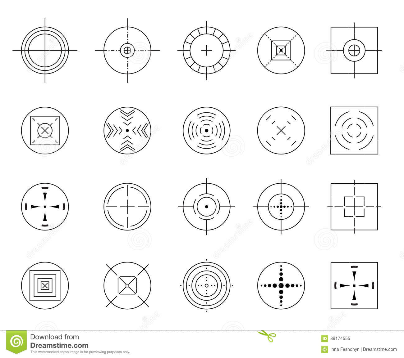 3eb19a17fc74 Collection of vector flat simple targets isolated on white background.  Different crosshair icons. Aims