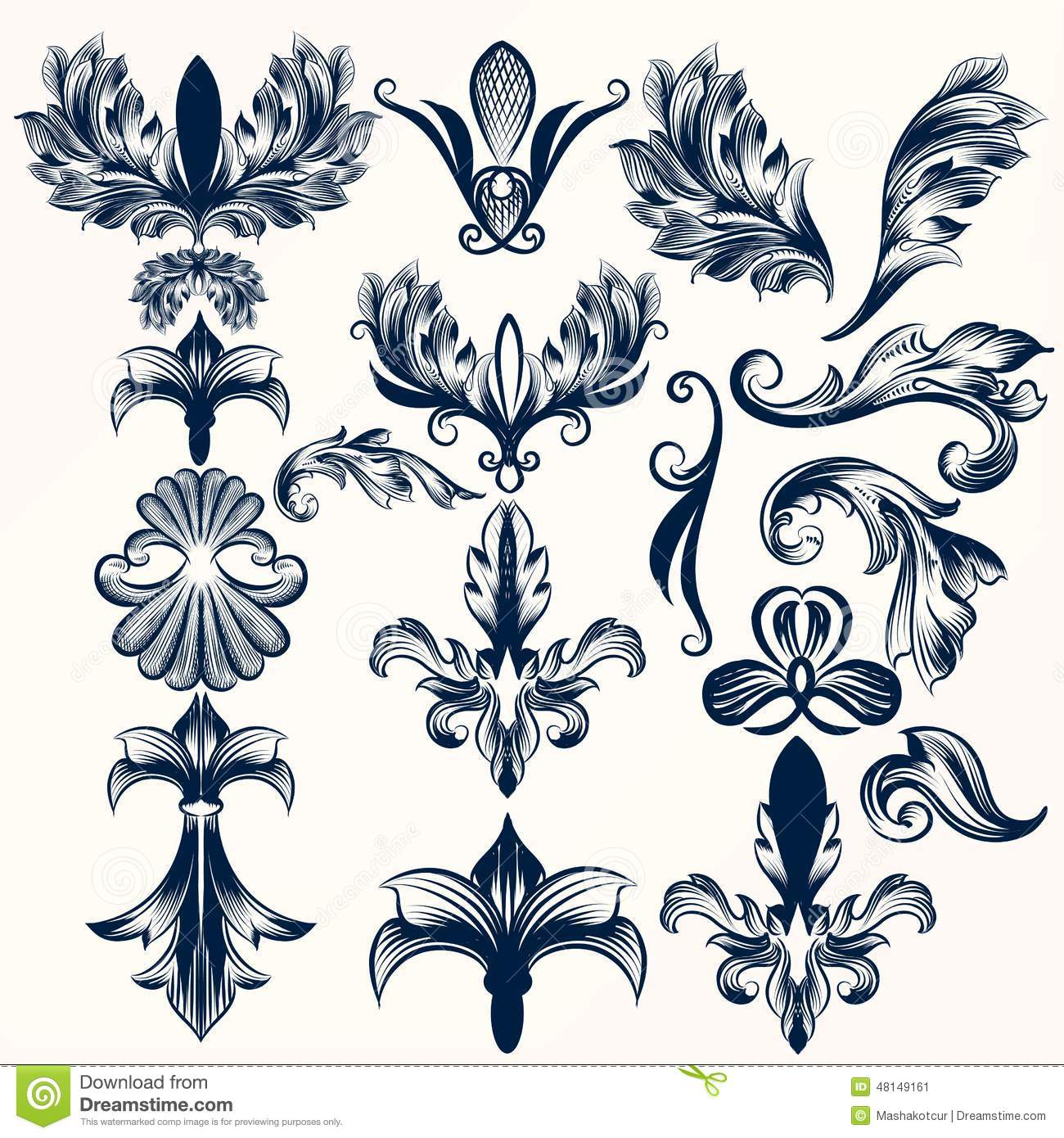 Collection Of Vector Hand Drawn Fleur De Lis And Swirls In