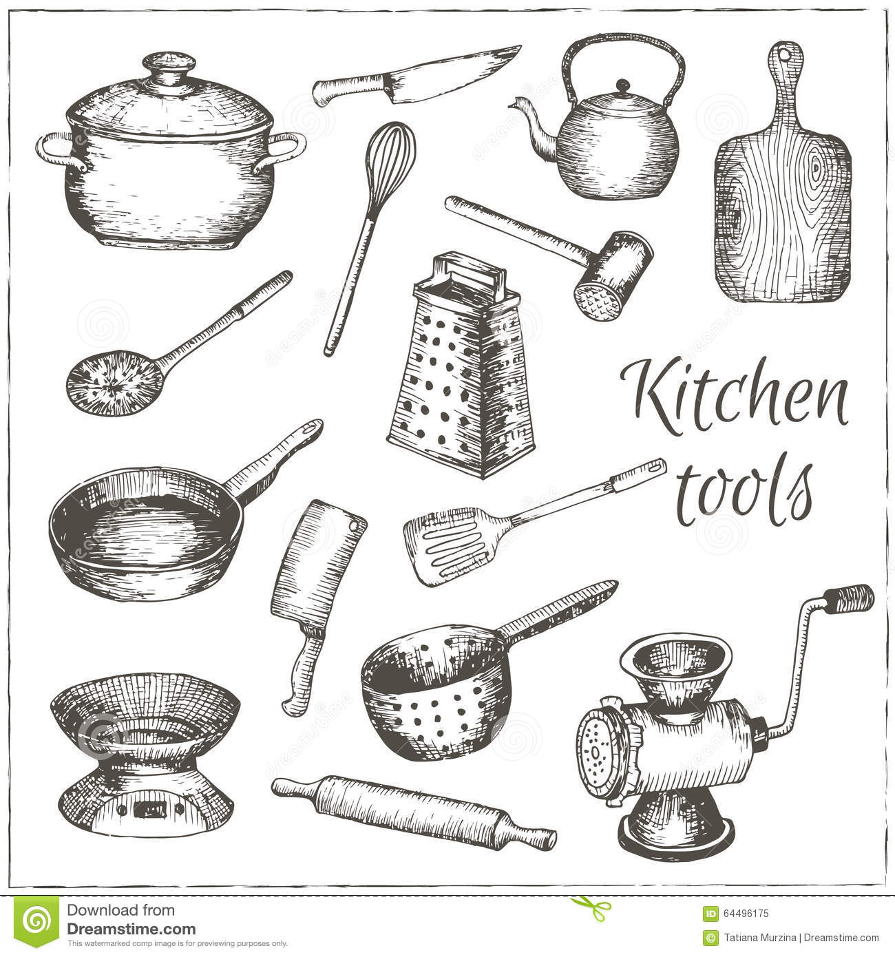 Collection of vector hand drawn kitchen tools stock - Instrument de cuisine ...