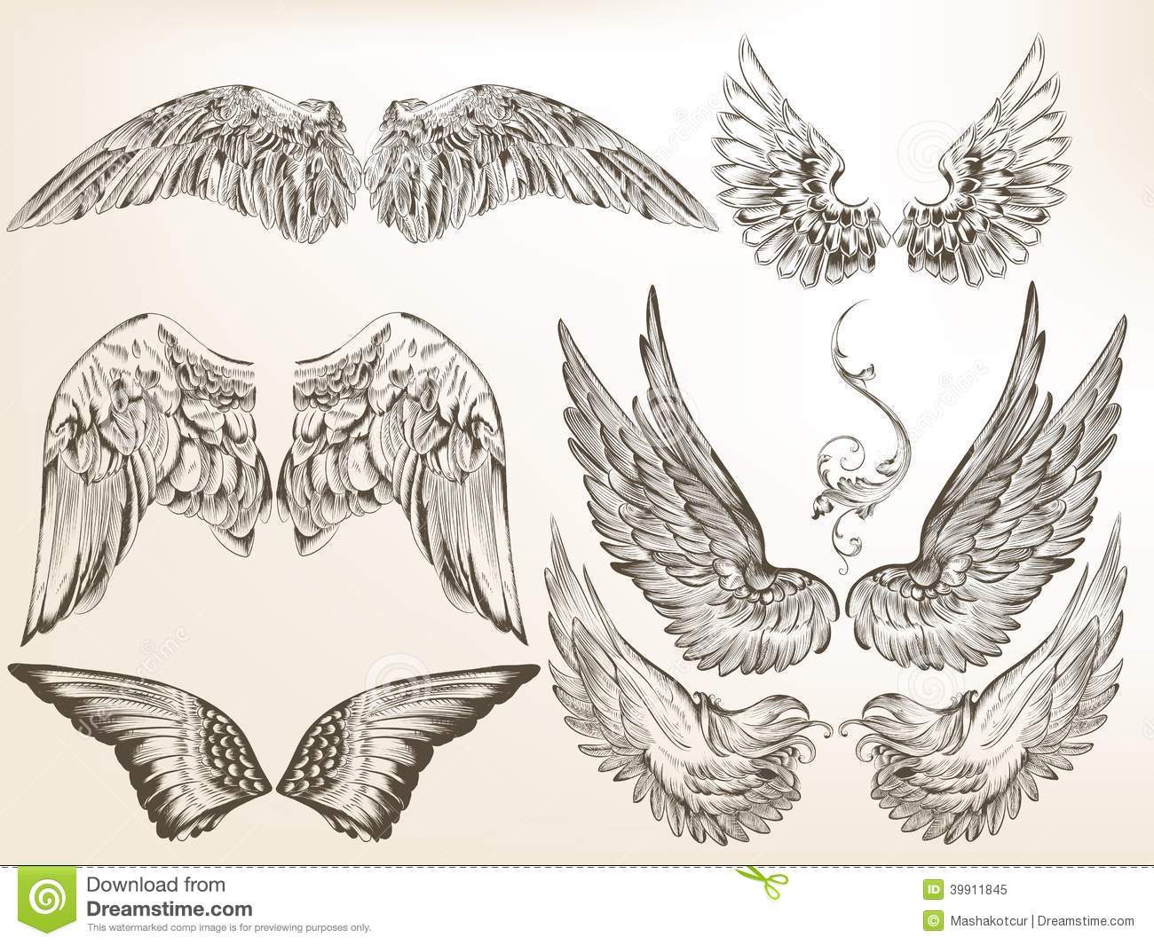 collection of vector hand drawn wings for design stock vector