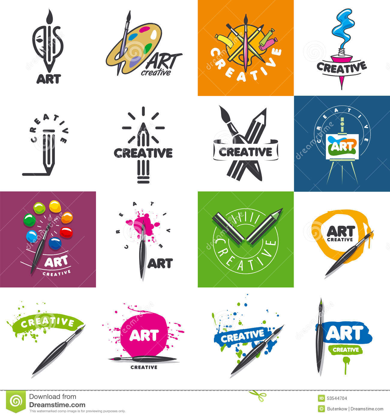 Collection Of Vector Logo Design Creativity And Art Stock Vector
