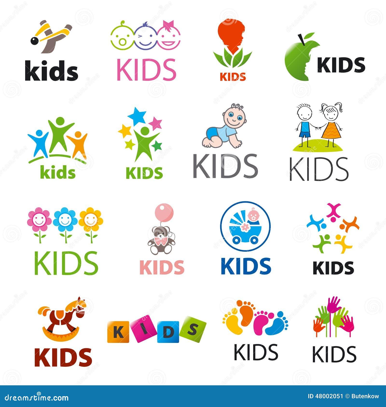 Collection Of Vector Logos Children Stock Vector Image