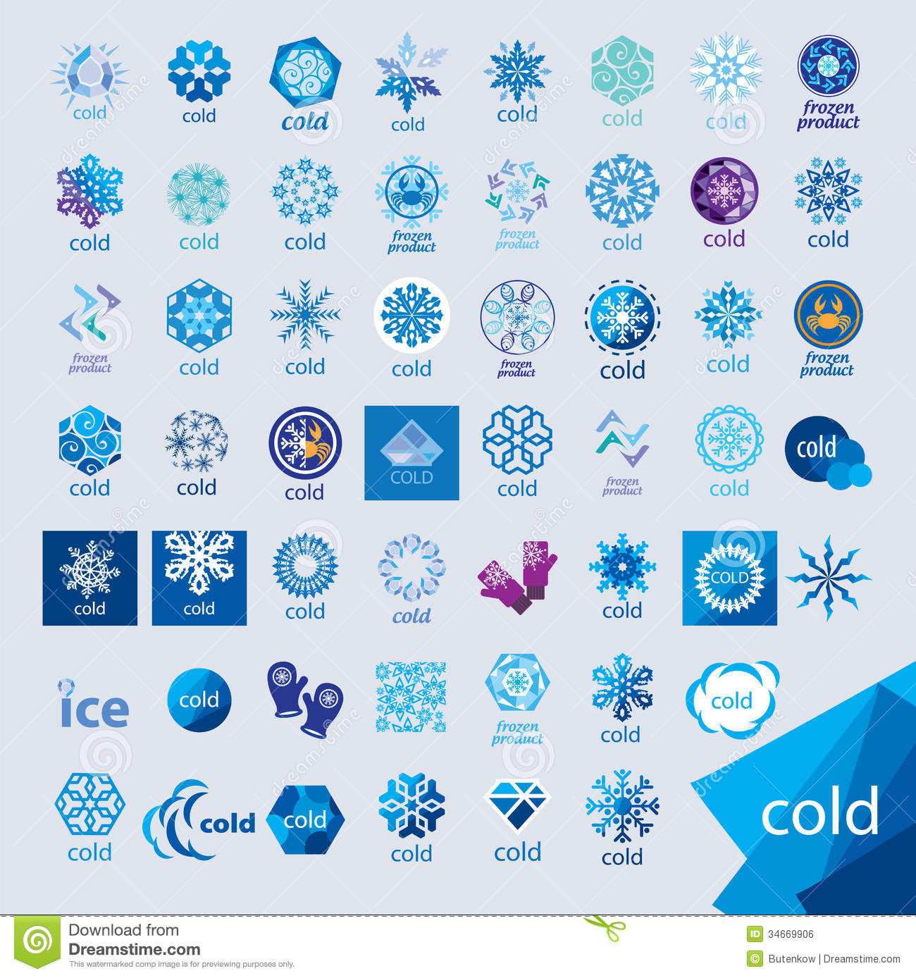 Collection Of Vector Logos Cold And Frost Royalty Free