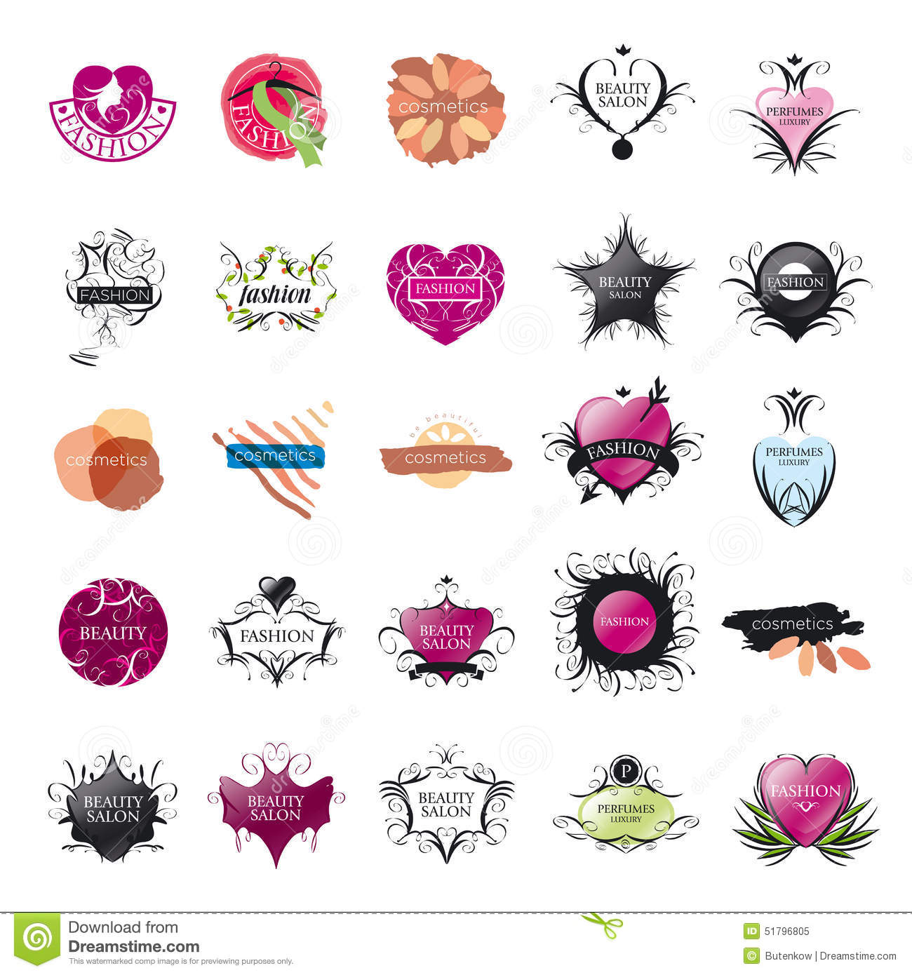 Collection Of Vector Logos Fashion And Beauty Stock Vector