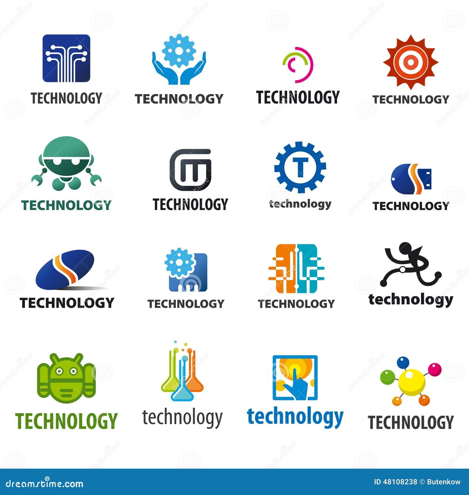 collection of vector logos technology stock vector image