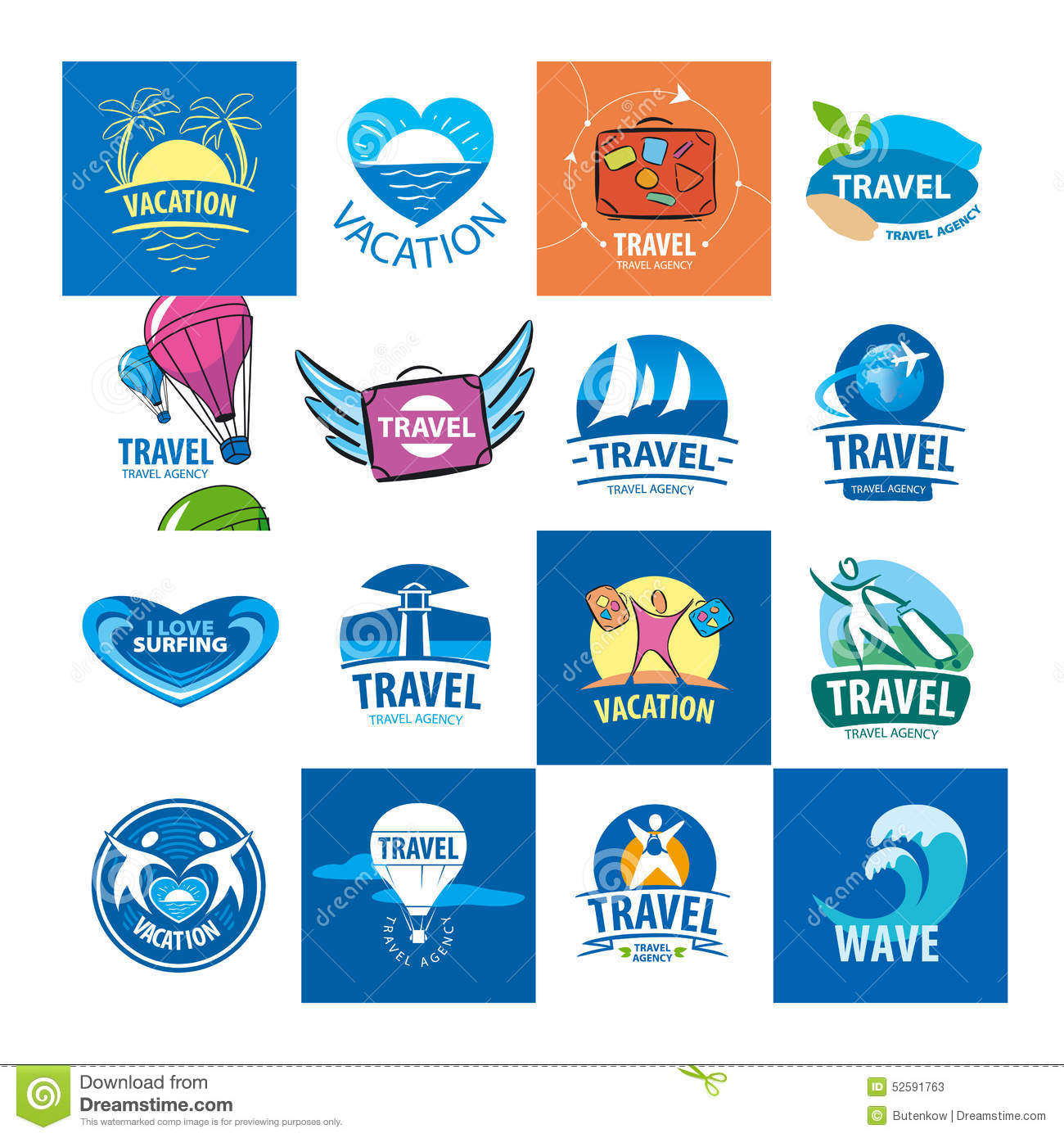 Collection Of Vector Logos For Travel And Tourism Stock