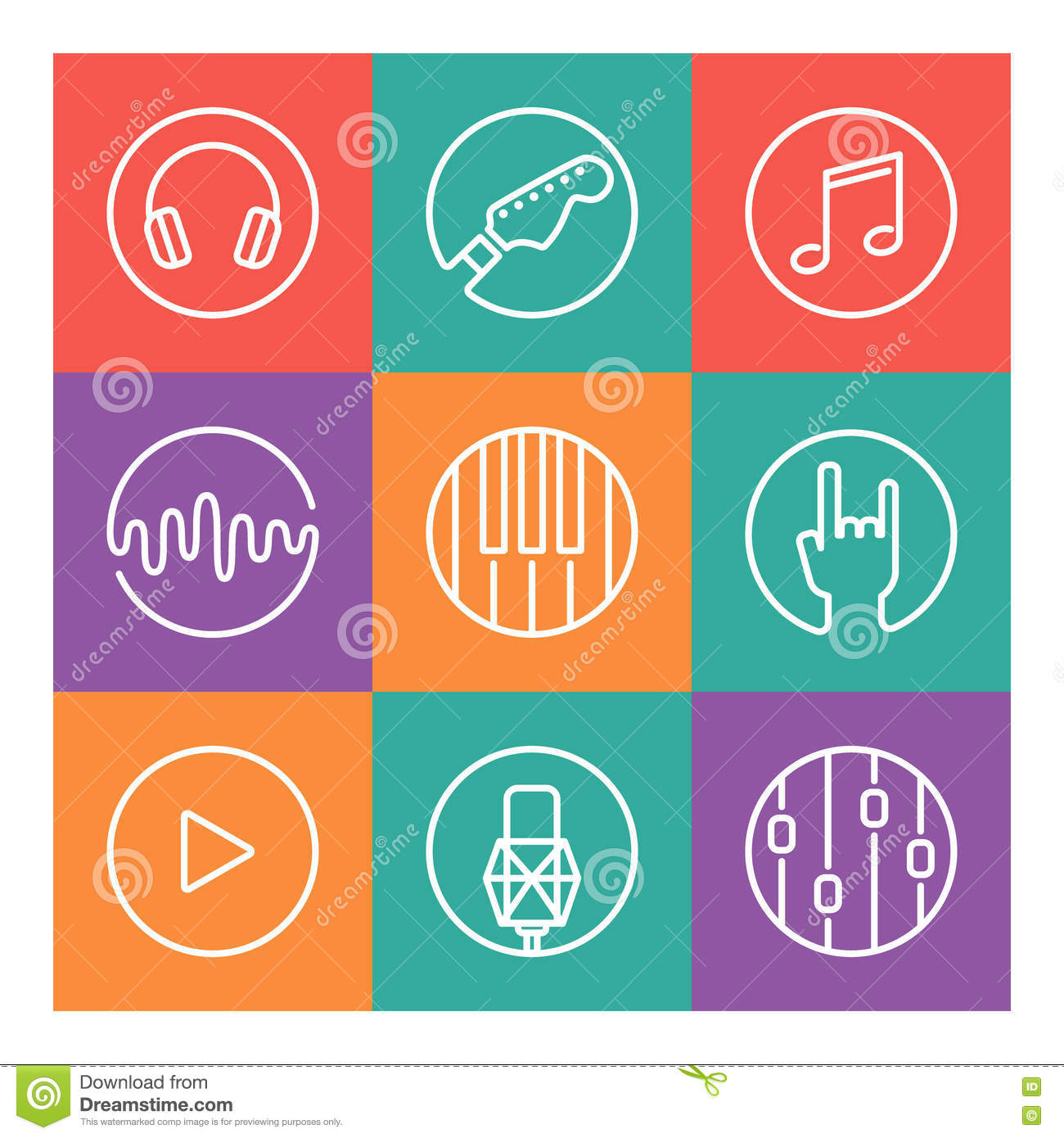 Collection of vector music or recording studio icons