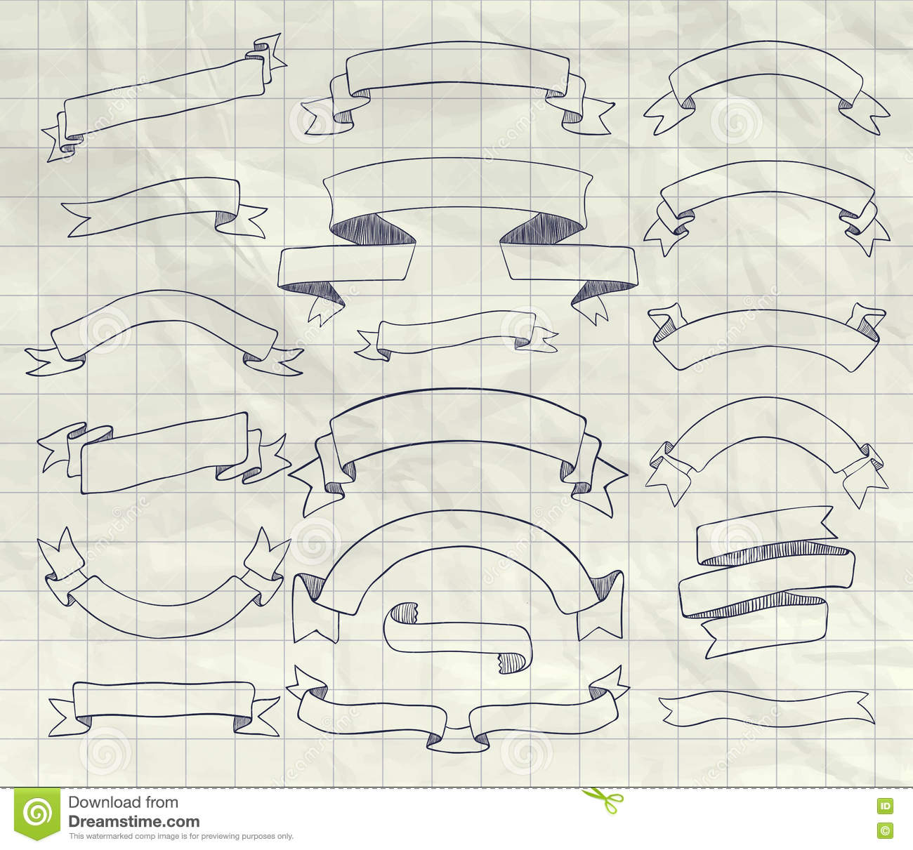 Download Collection Of Vector Pen Drawing Ribbons Banners Stock