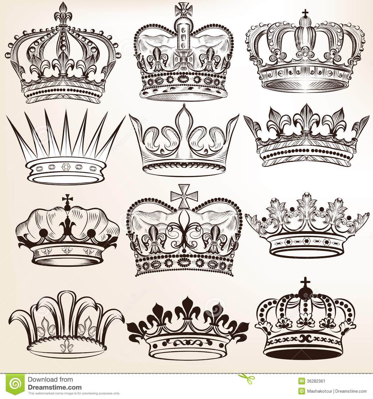 Crown Tattoo Line Drawing : Collection of vector royal crowns for heraldic design
