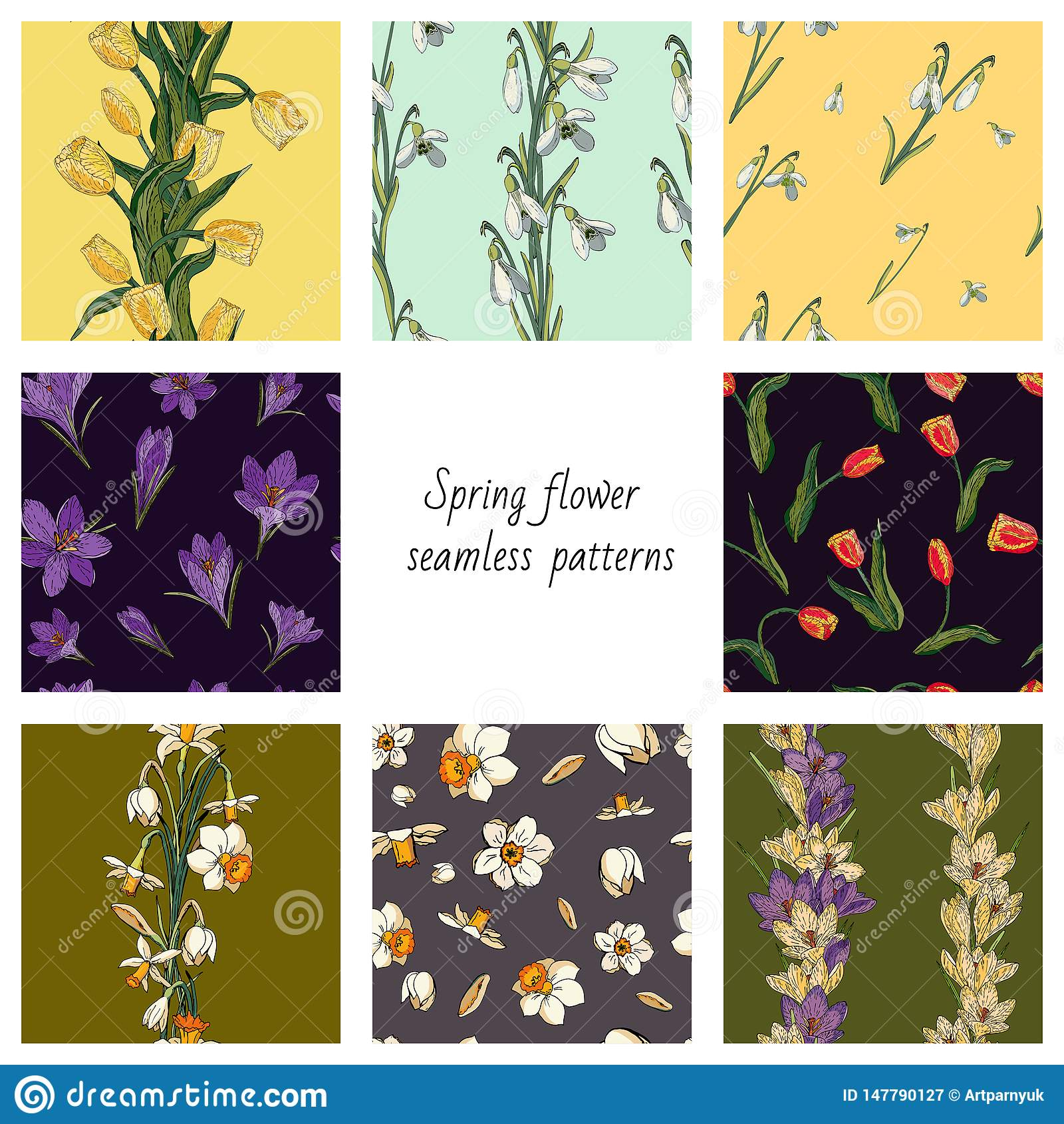 Collection of 8 vector seamless color patterns with spring flowers. Textures with tulips, crocuses, snowdrops and daffodils