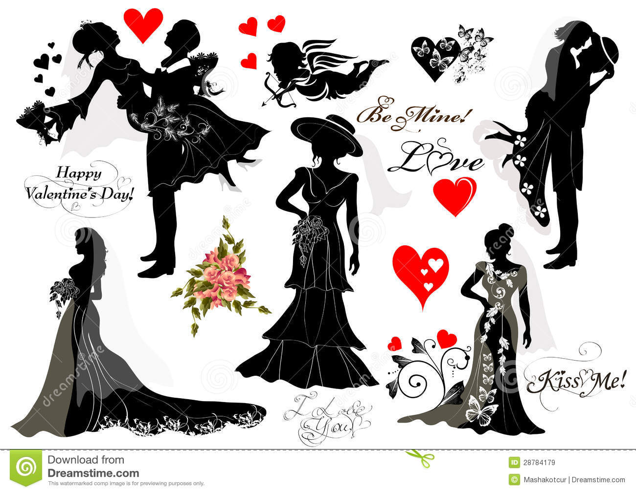 Collection Of Vector Silhouettes Groom And Bride Couples Royalty Free Stock Images