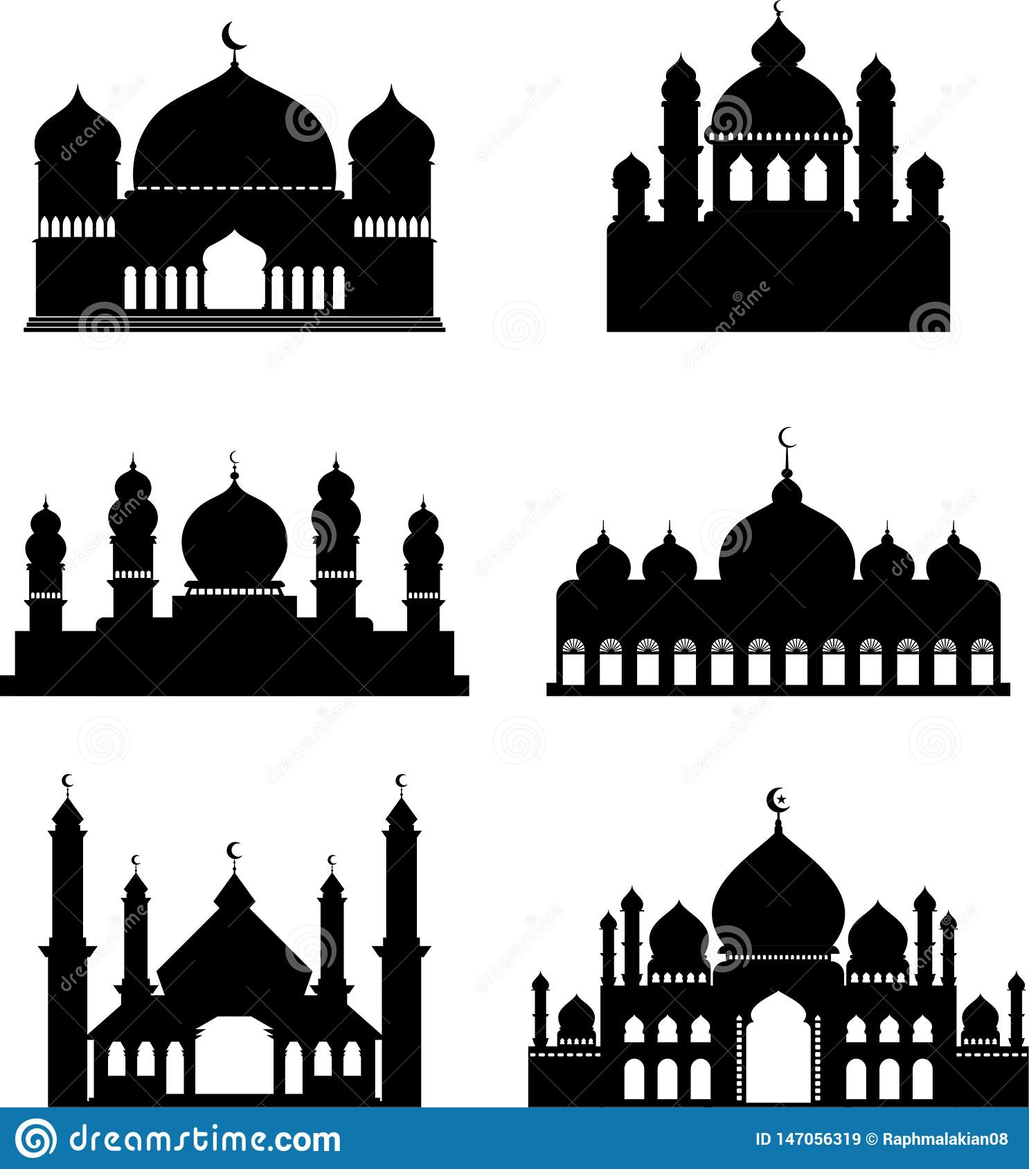 Collection Of Vector Silhouettes Of Mosques Stock Vector