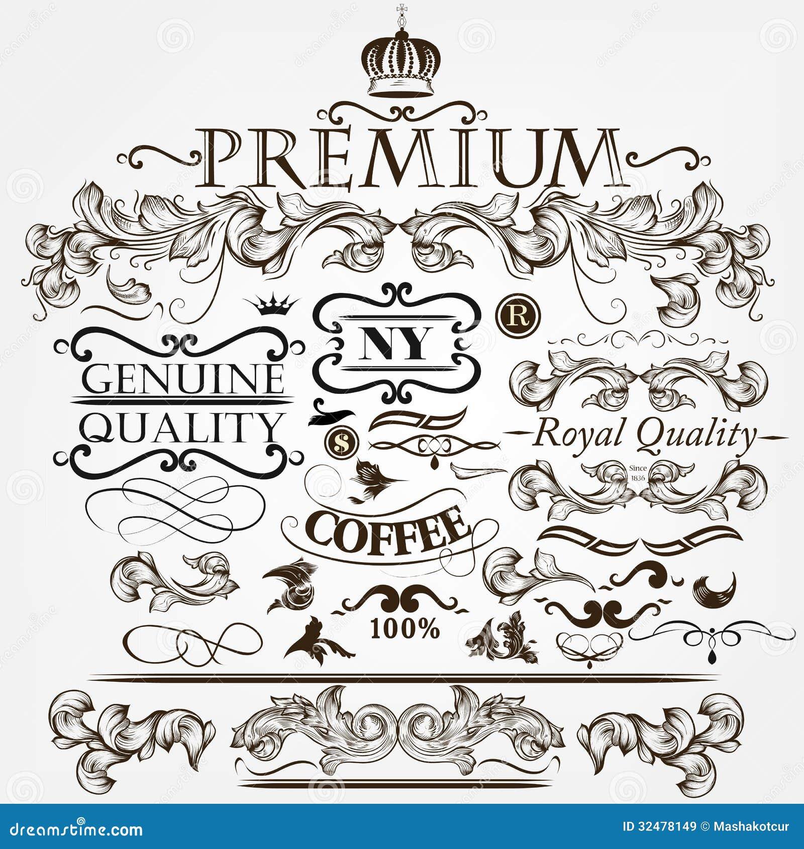 Vector set of calligraphic elements for design. Calligraphic vector.