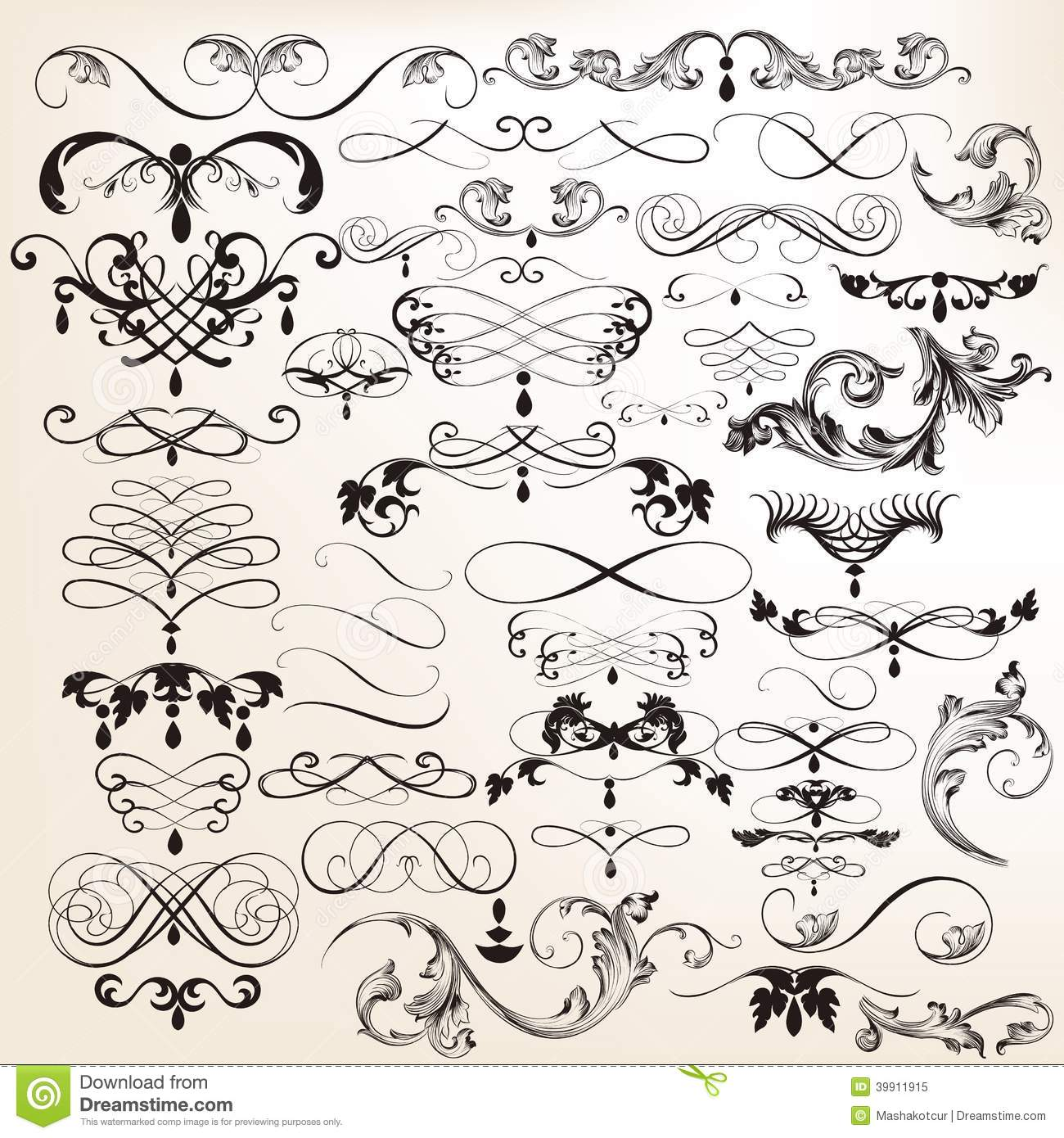 Set Of Vector Flourishes In Vintage Style Stock Vector - Image ...