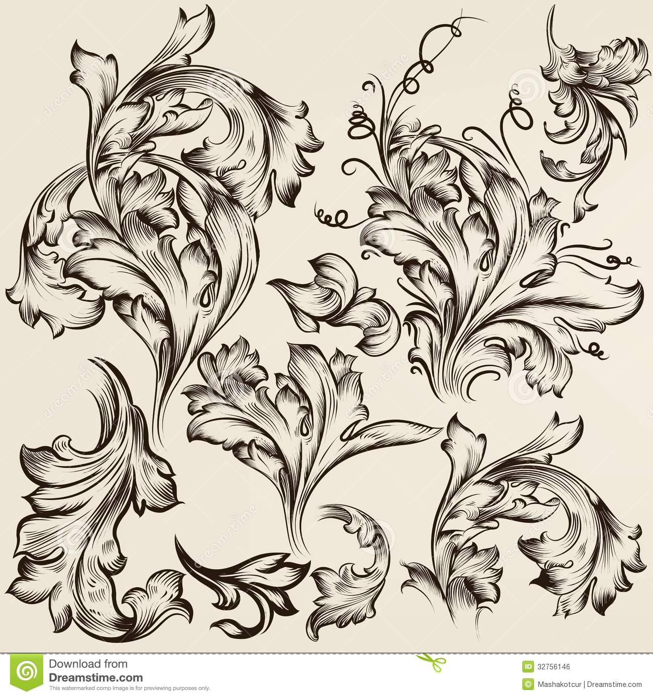 Collection of vector vintage swirl ornaments for design for Design ornaments