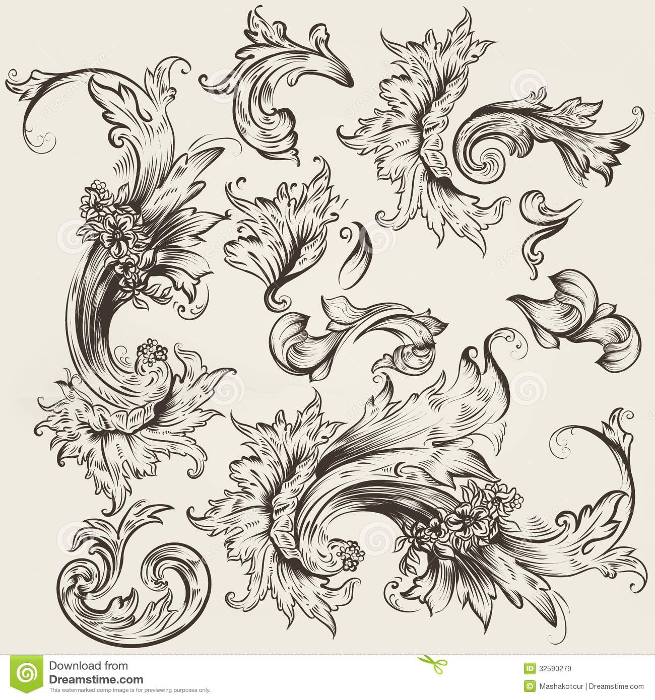 Collection of vector vintage swirls for design stock