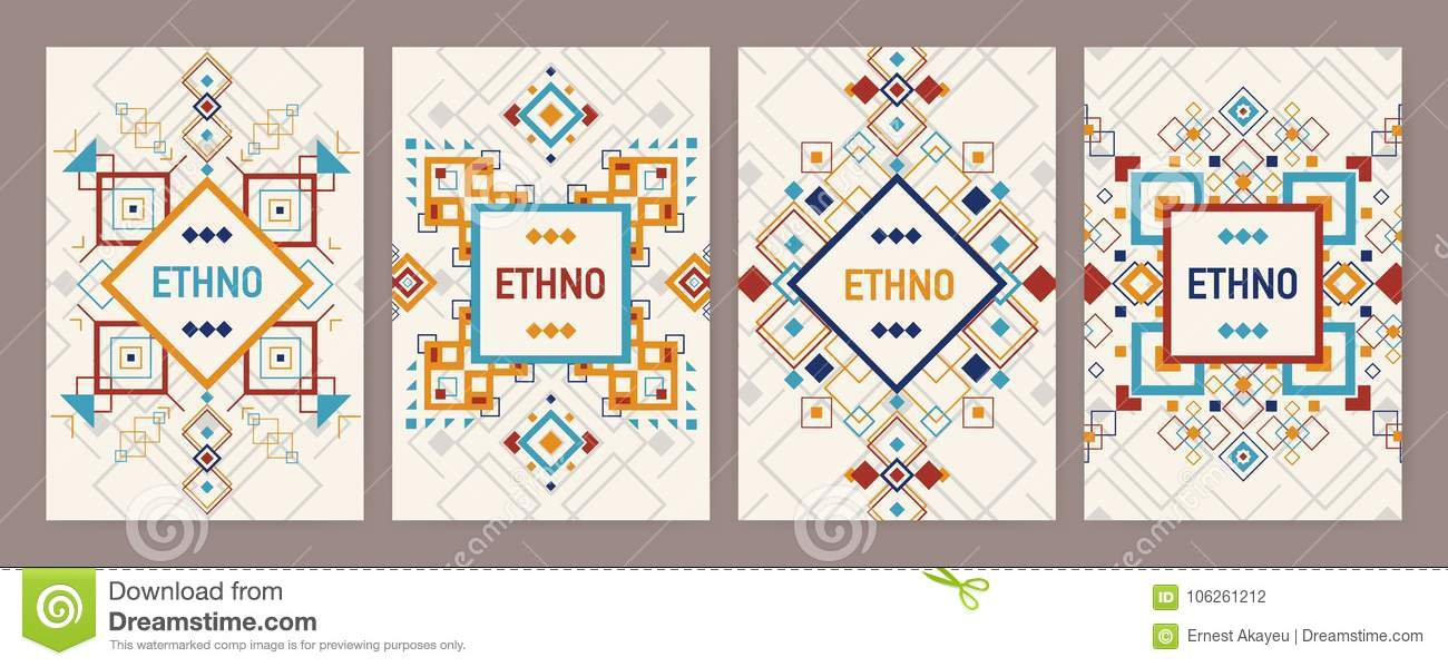 Collection of vertical backgrounds with traditional Aztec ornament or decorative border. Bundle of flyer or postcard