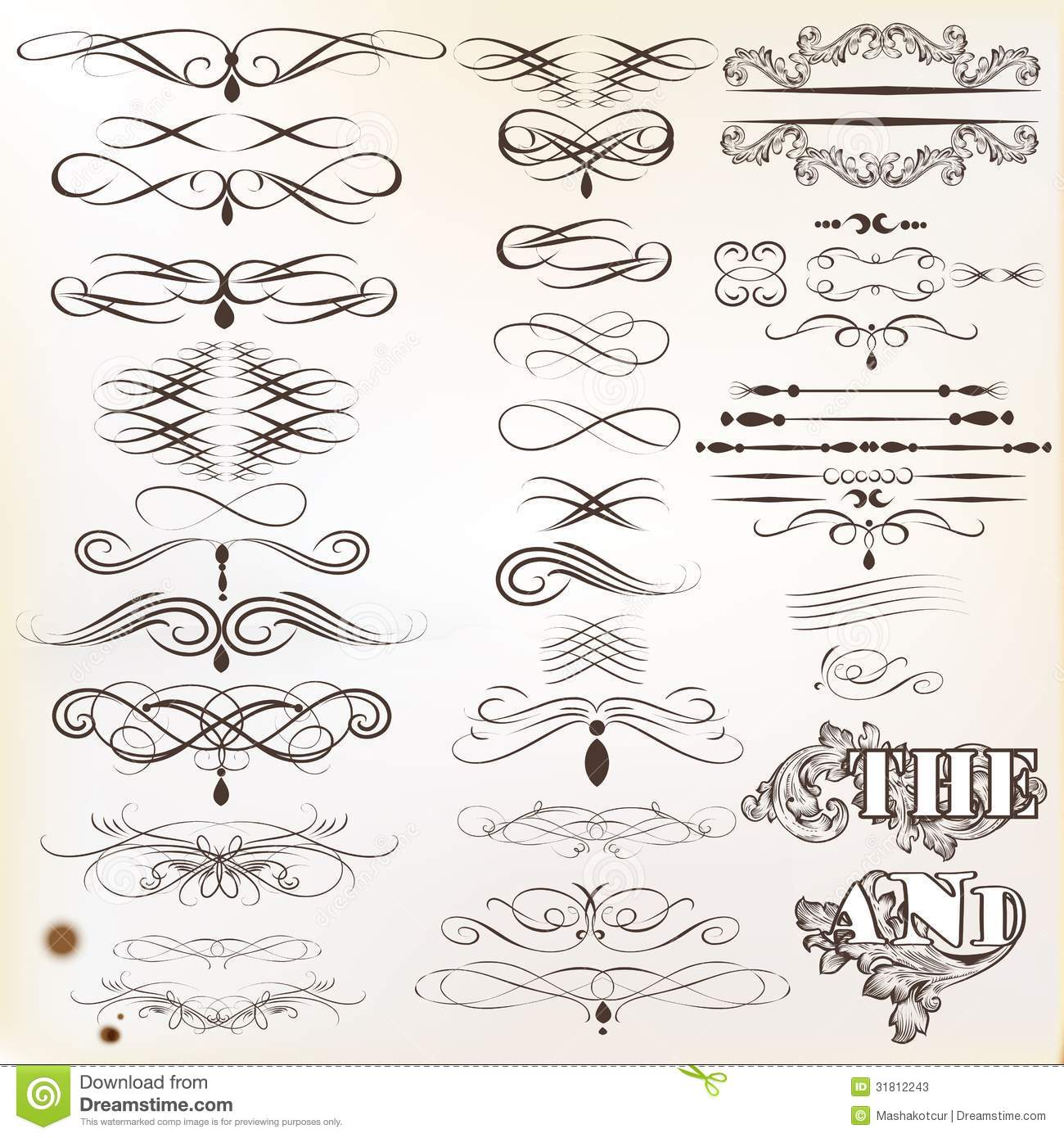 Collection Of Vintage Calligraphic Design Elements And Page ...