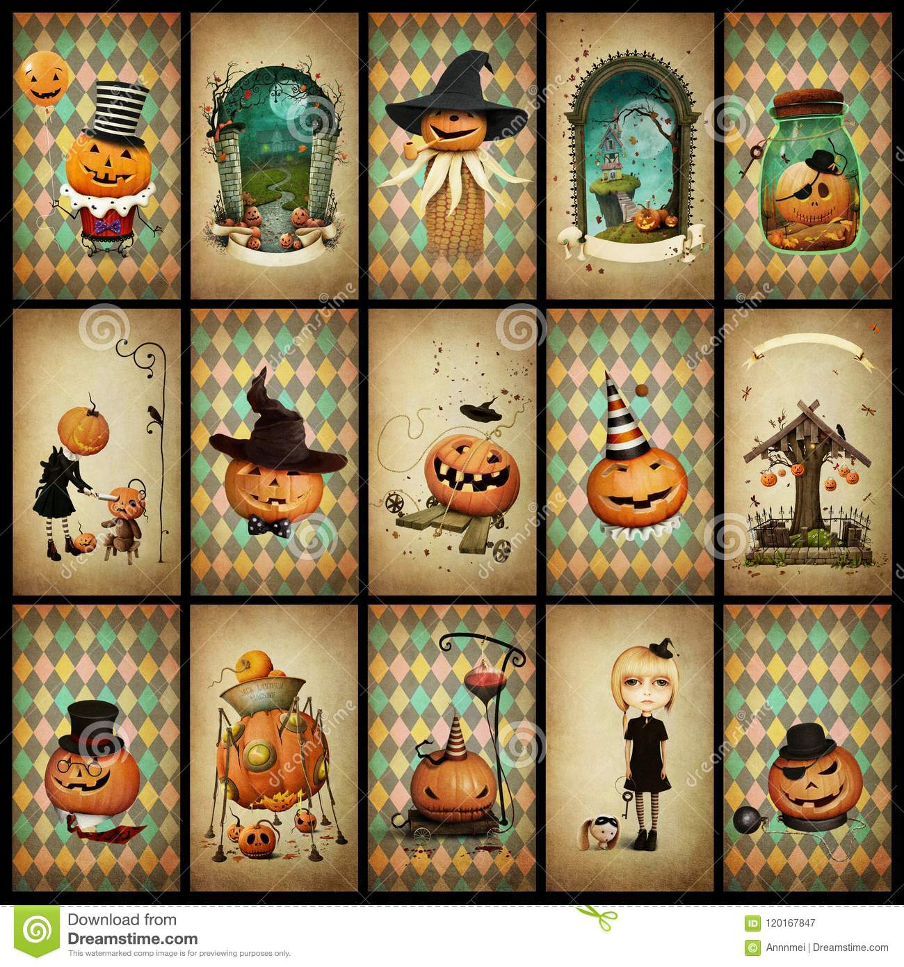 Collection vintage cards Halloween