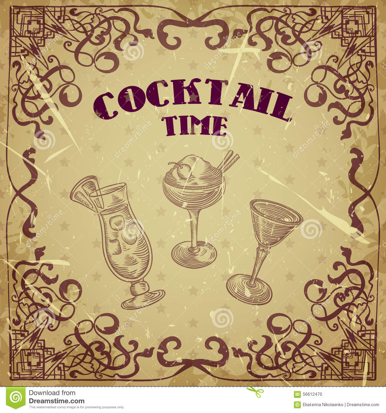 Collection of vintage cocktails with art deco border - Retro vintage ...