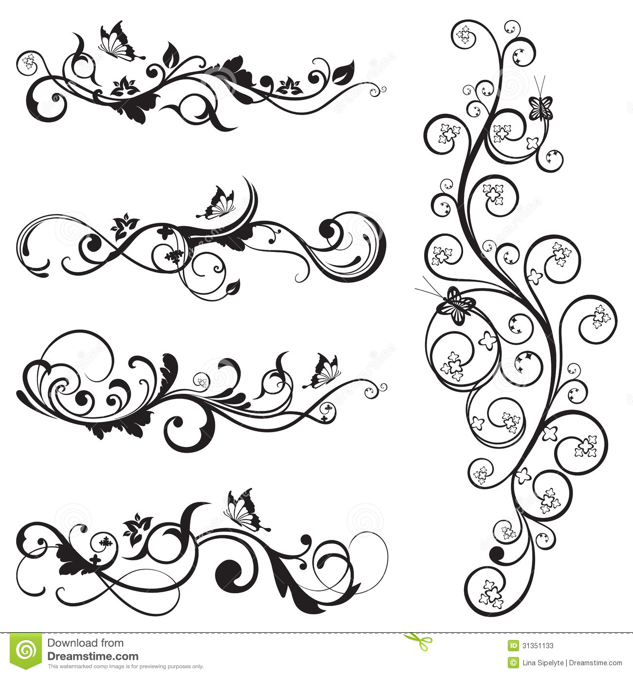 collection of vintage floral silhouette designs stock vector illustration of plant butterfly. Black Bedroom Furniture Sets. Home Design Ideas