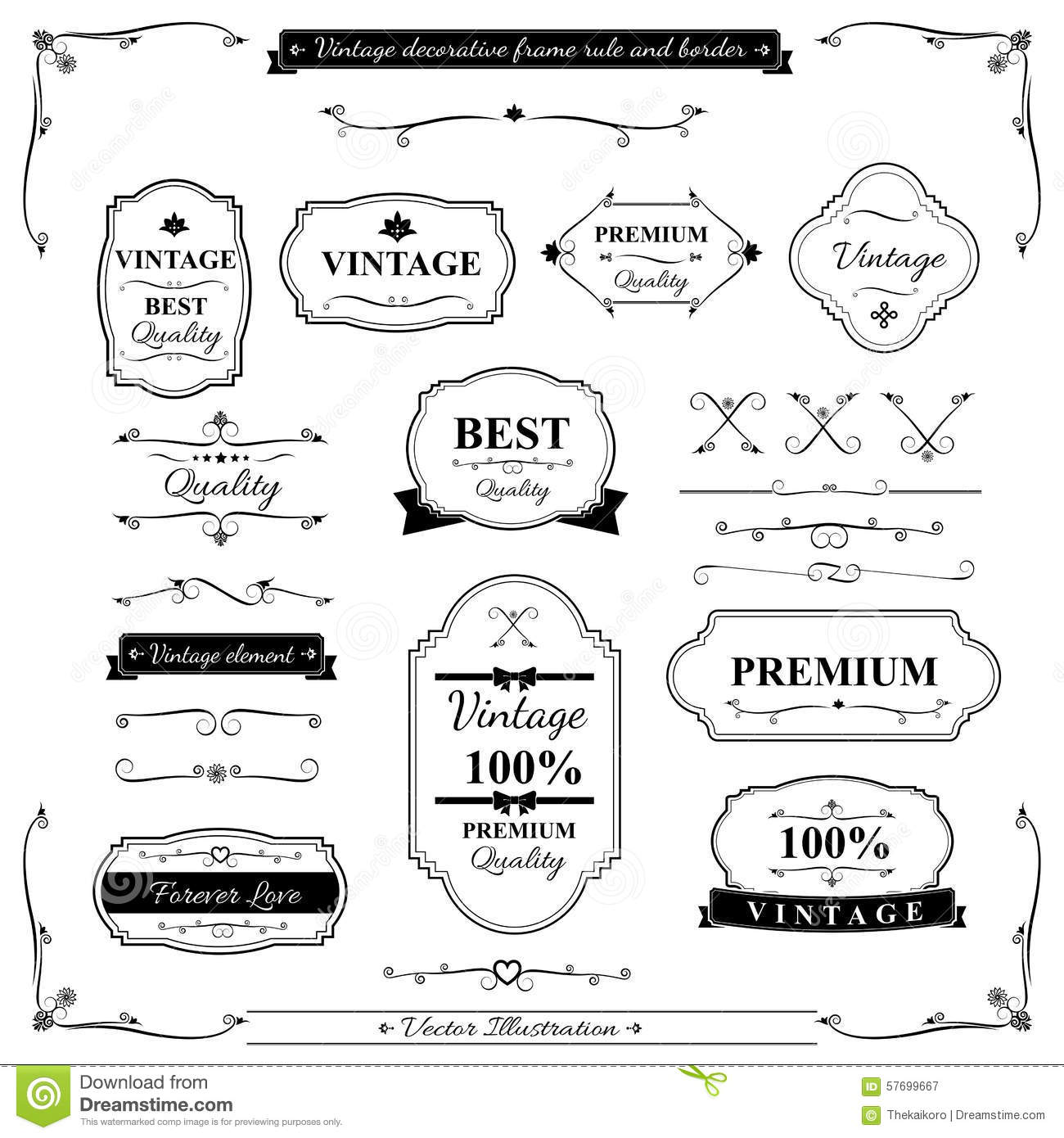 Collection Of Vintage Frame Border Rule And Design Element 002 Stock ...