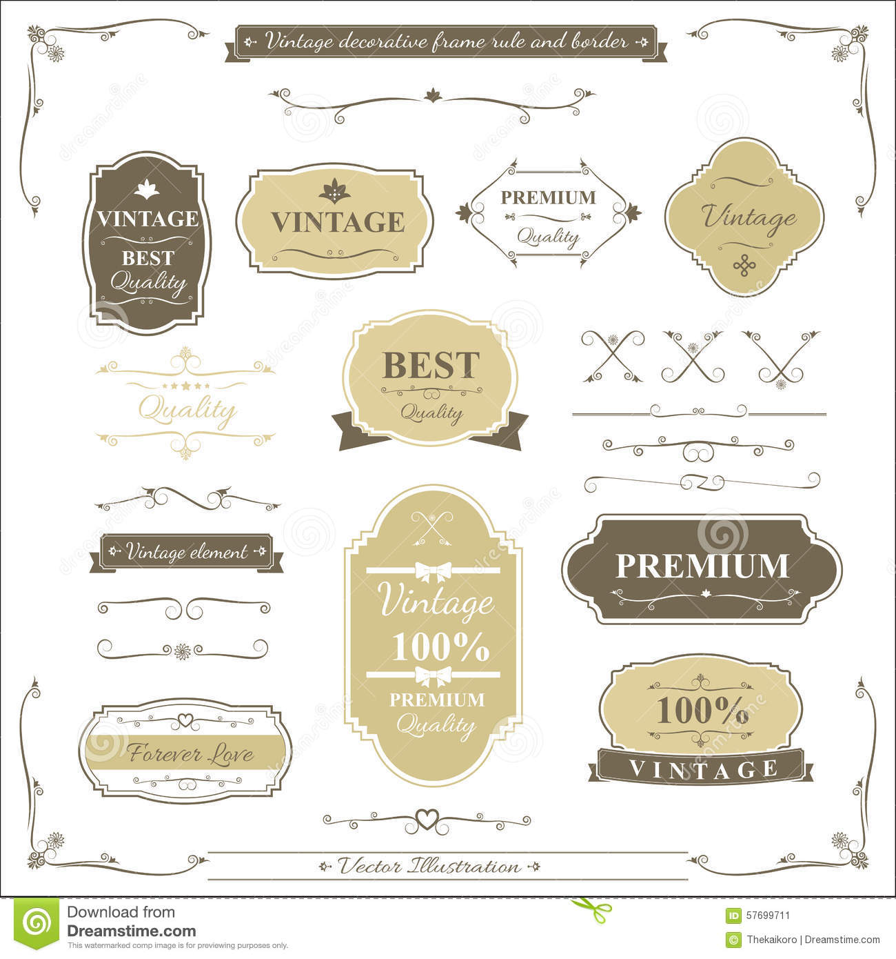 Collection Of Vintage Frame Border Rule And Design Element Stock ...