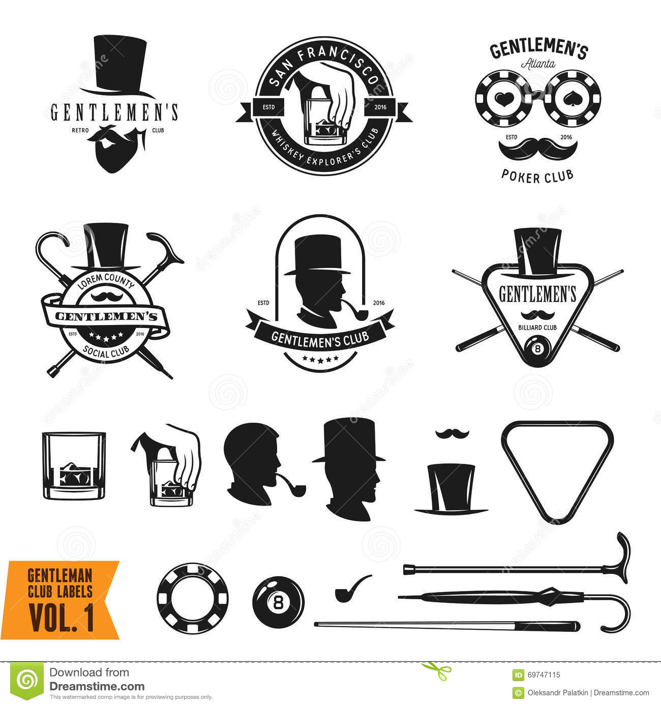 70ff1e2026e4b2 Collection of vintage gentleman emblems, labels, badges and design elements.  Vector illustration.