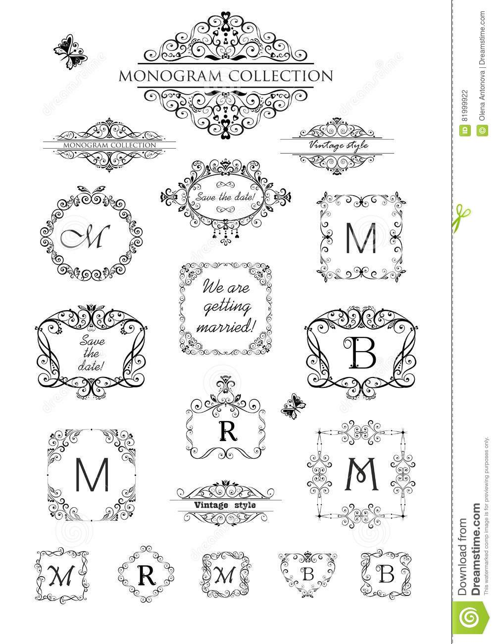 Collection Of Vintage Labels, Headers And Frames For Wedding ...