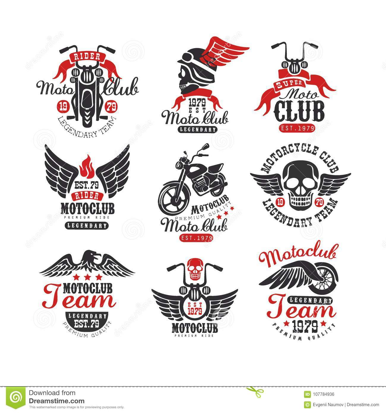 61912fb5d5e Collection of vintage motorcycle club logos