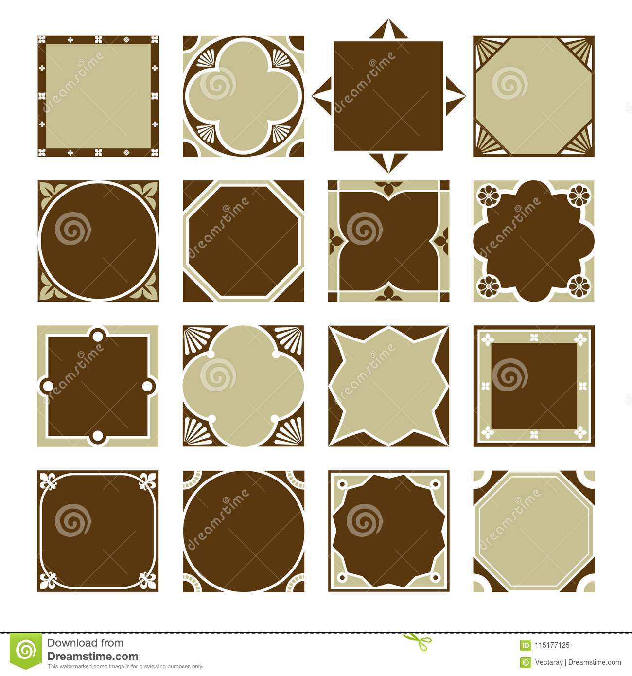Collection Of Vintage Square Decorative Border Frames. Stock ...